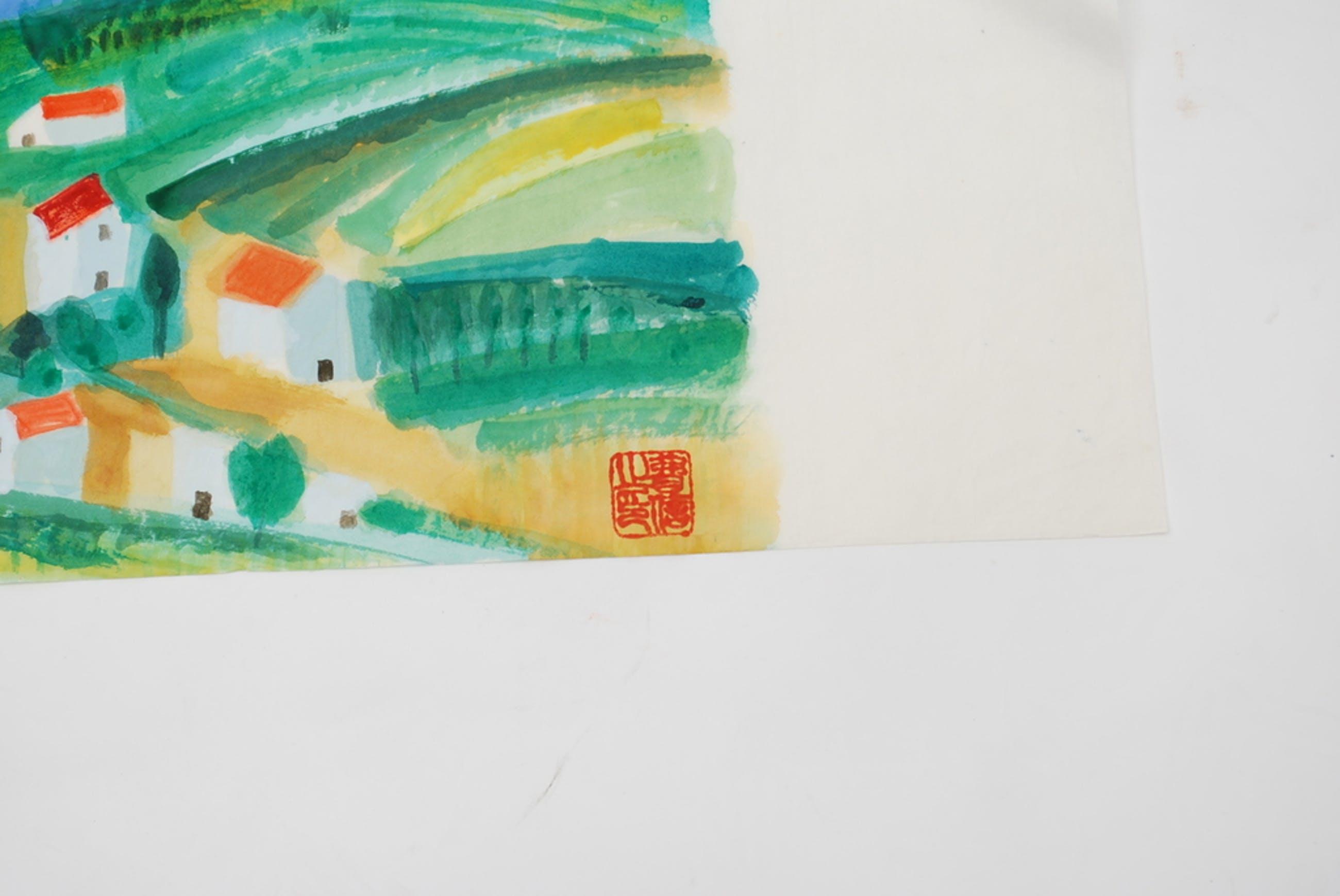 ERNST VIJLBRIEF (1934-2010) landschap, aquarel op rijstpapier. kopen? Bied vanaf 1!