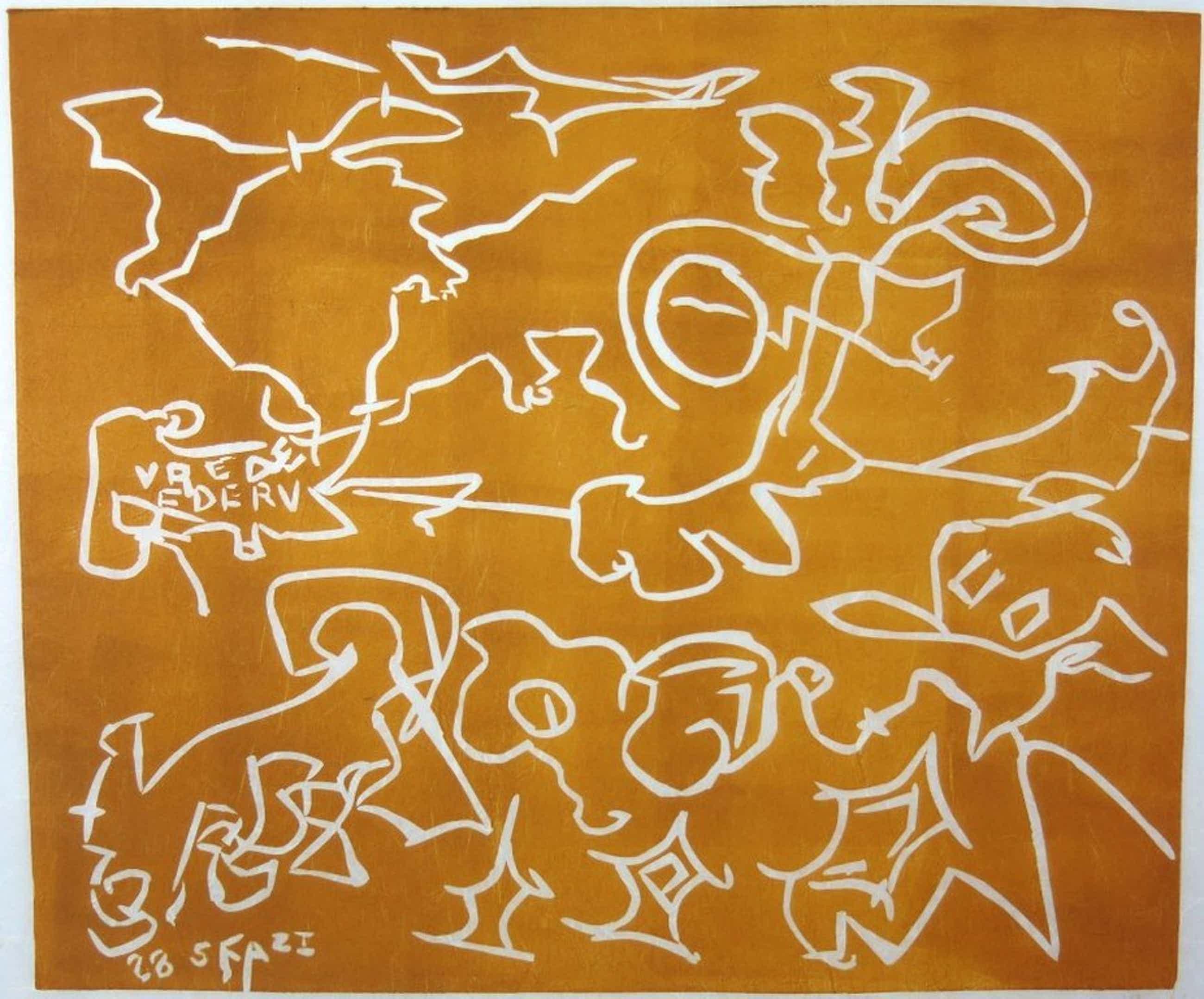 Wim Izaks: Lino op rijstpapier, Vrede oranje (groot) kopen? Bied vanaf 70!