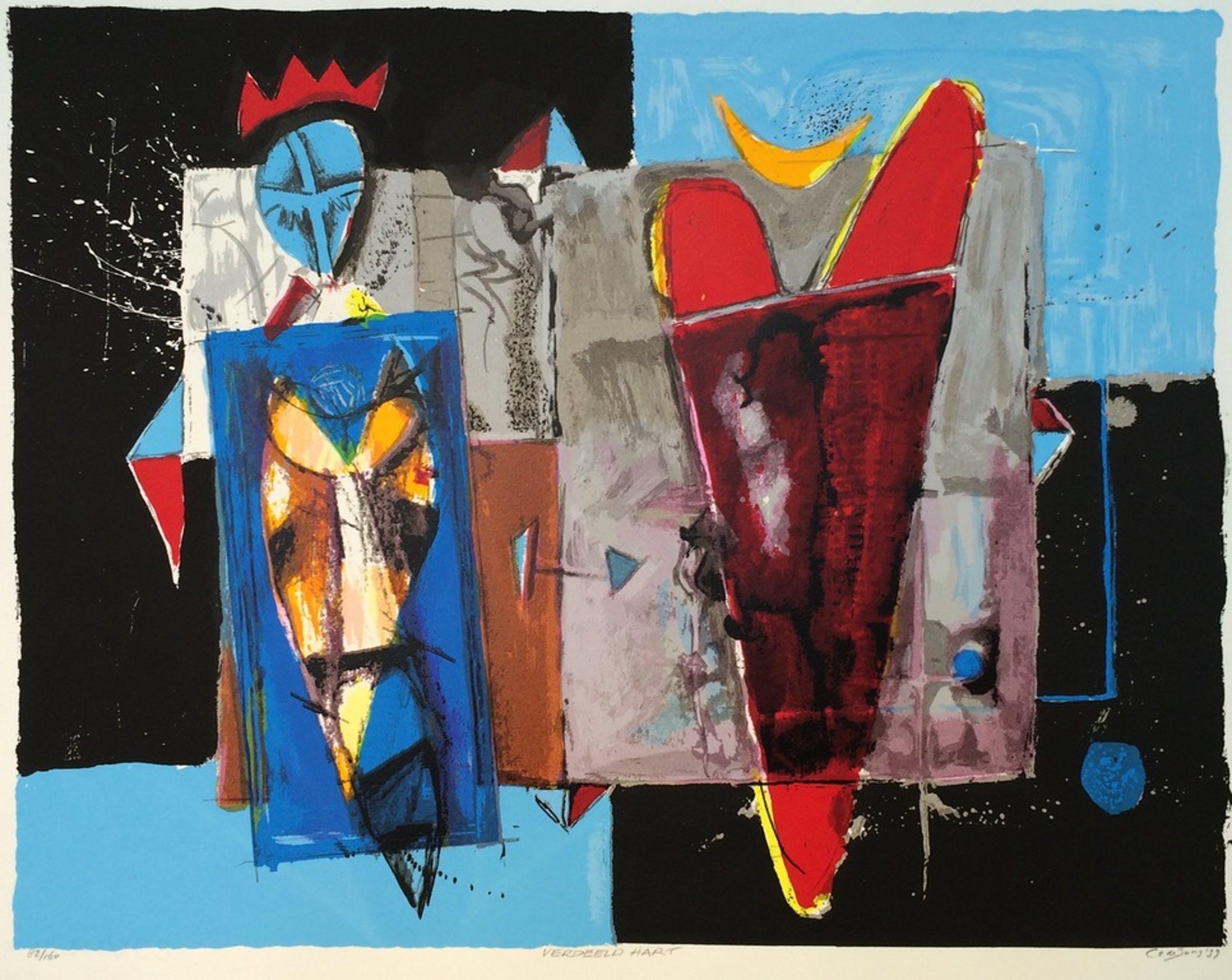 Cor de Jong, zeefdruk papier, Titel: verdeeld hart kopen? Bied vanaf 1!