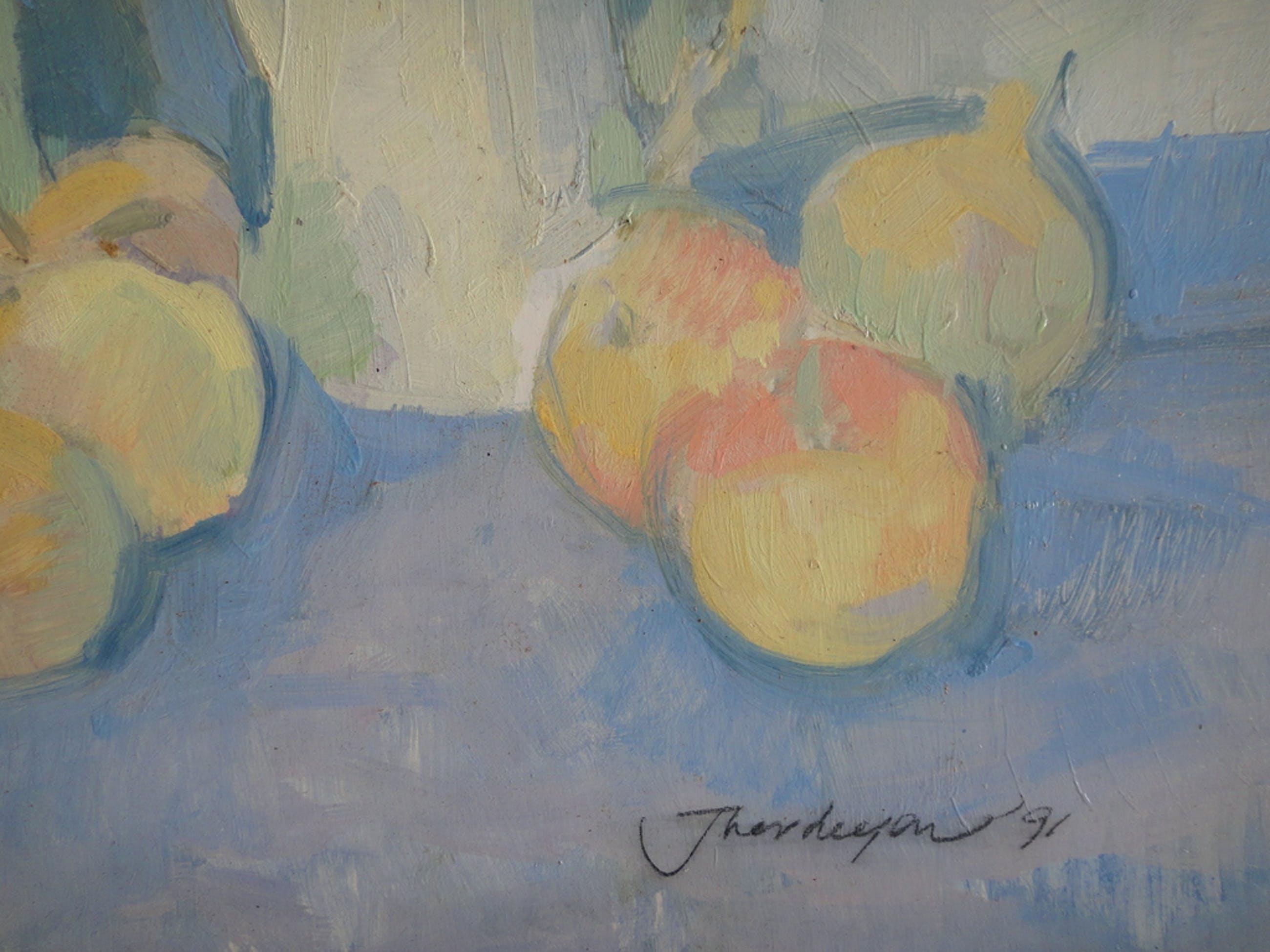 Jan Verheijen, olieverf op board, stilleven met fruit en theekan I kopen? Bied vanaf 1!