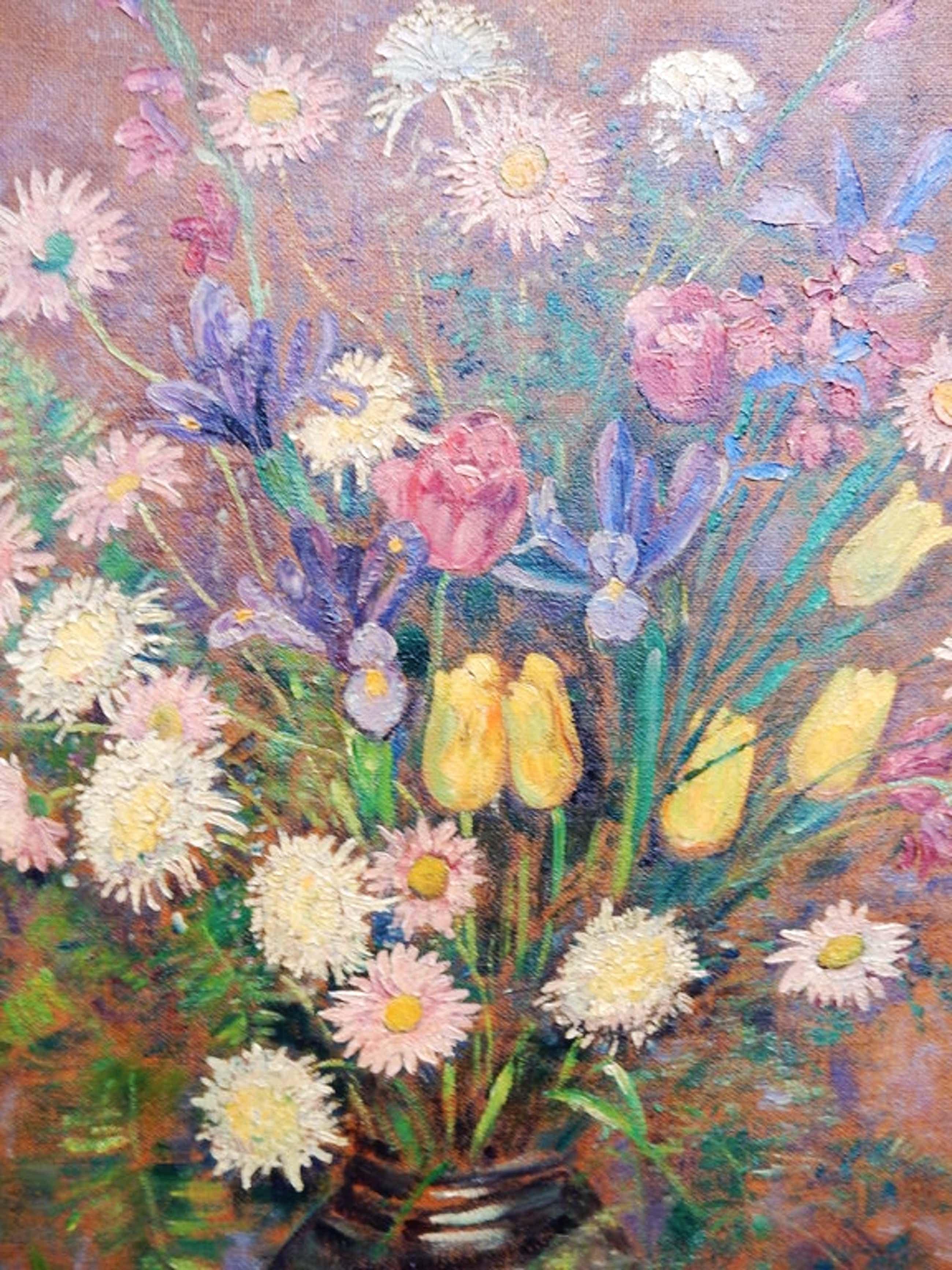 Jacob Johannes Doeser,stilleven, bloemboeket in vaas, oileverf op doek( 105x115) kopen? Bied vanaf 130!