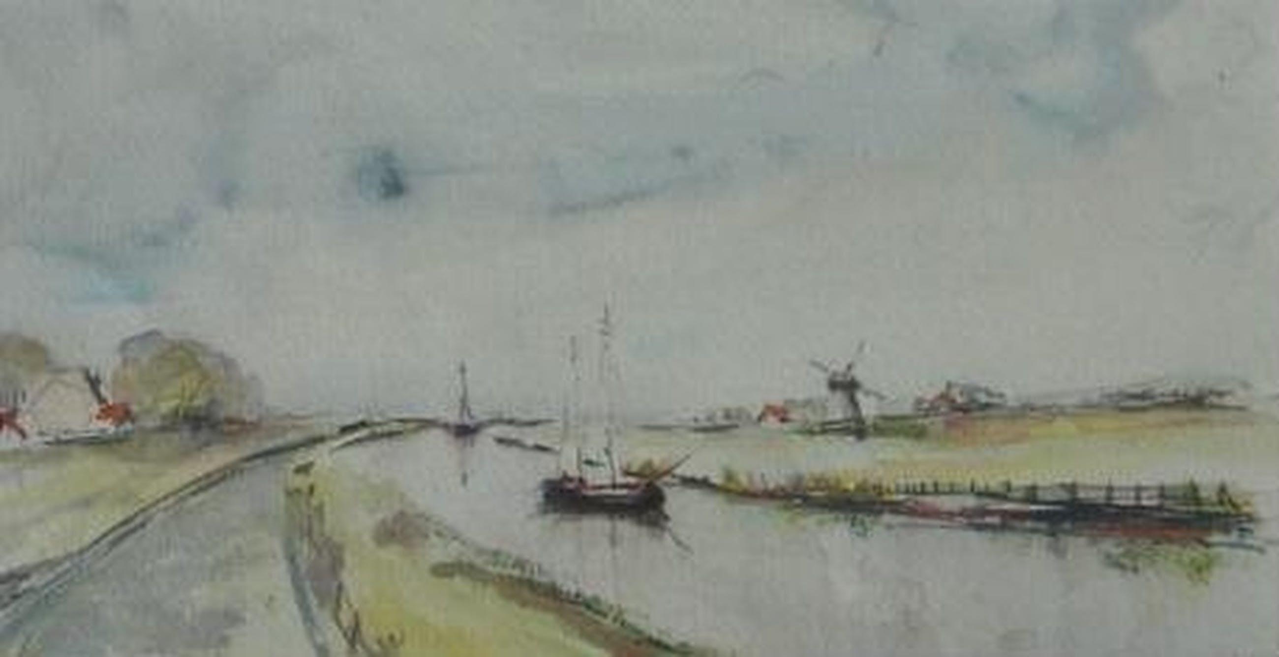 Lydia de Loos, Hollands landschap met een molen aan een vaart kopen? Bied vanaf 10!