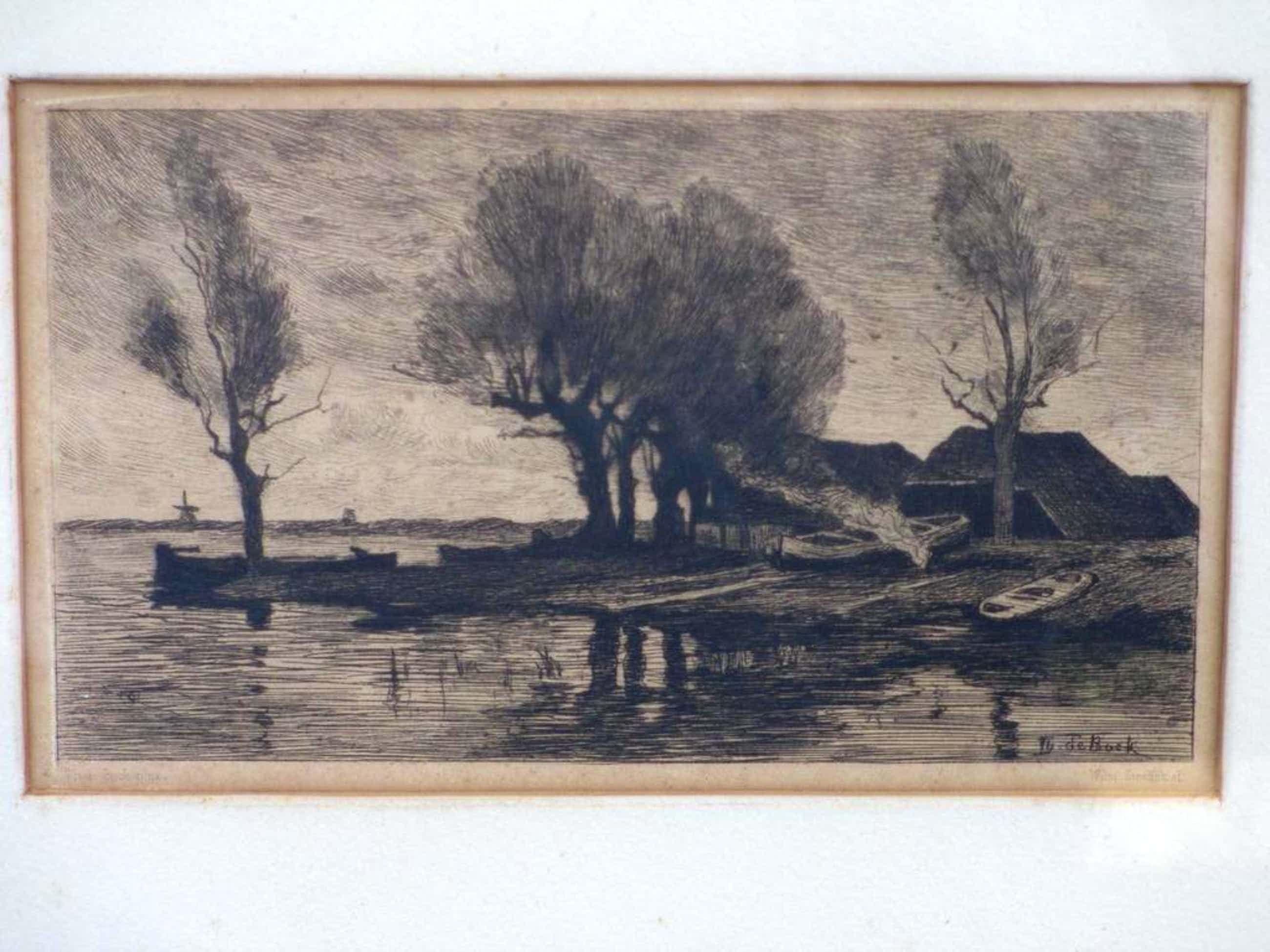 Theophile de Bock, Boerderij in waterlandschap, Ets kopen? Bied vanaf 35!