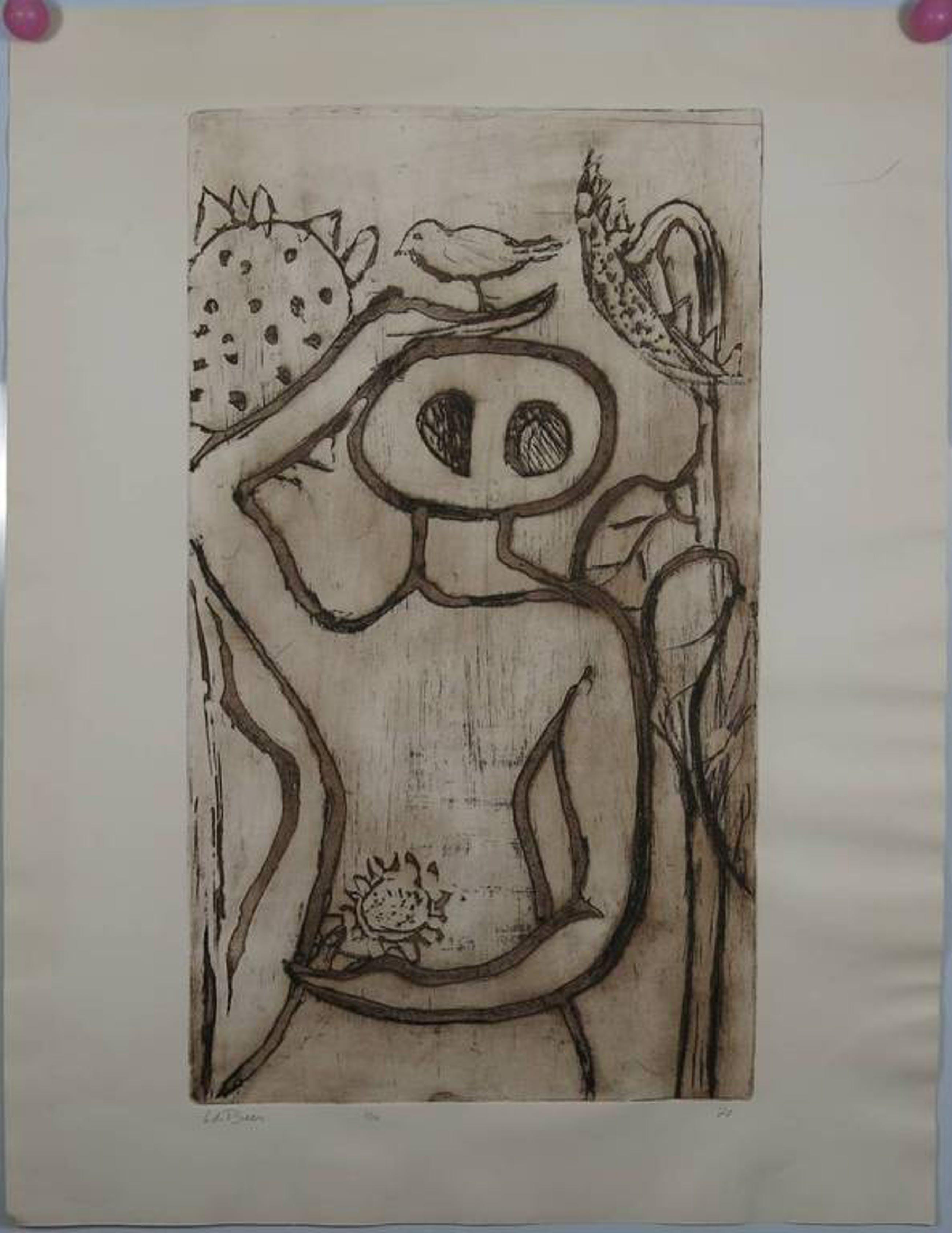 H. de Beer: Ets, figuur met vogel en zonnebloemen kopen? Bied vanaf 1!