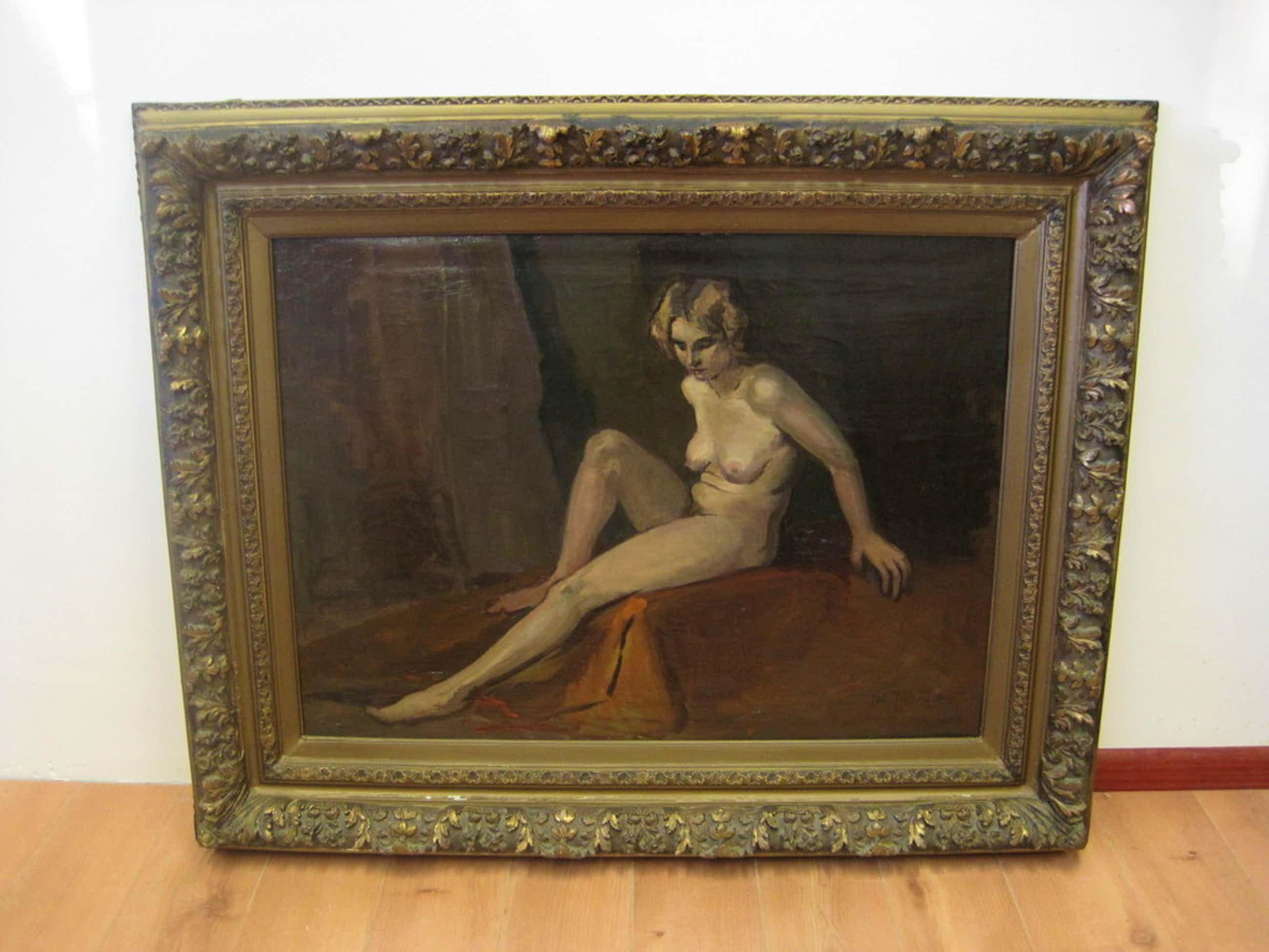 """Joh. Josseaud 1880-1935 Haarlems impressionist """"zittend Naakt"""" GROOT! olieverf kopen? Bied vanaf 281!"""