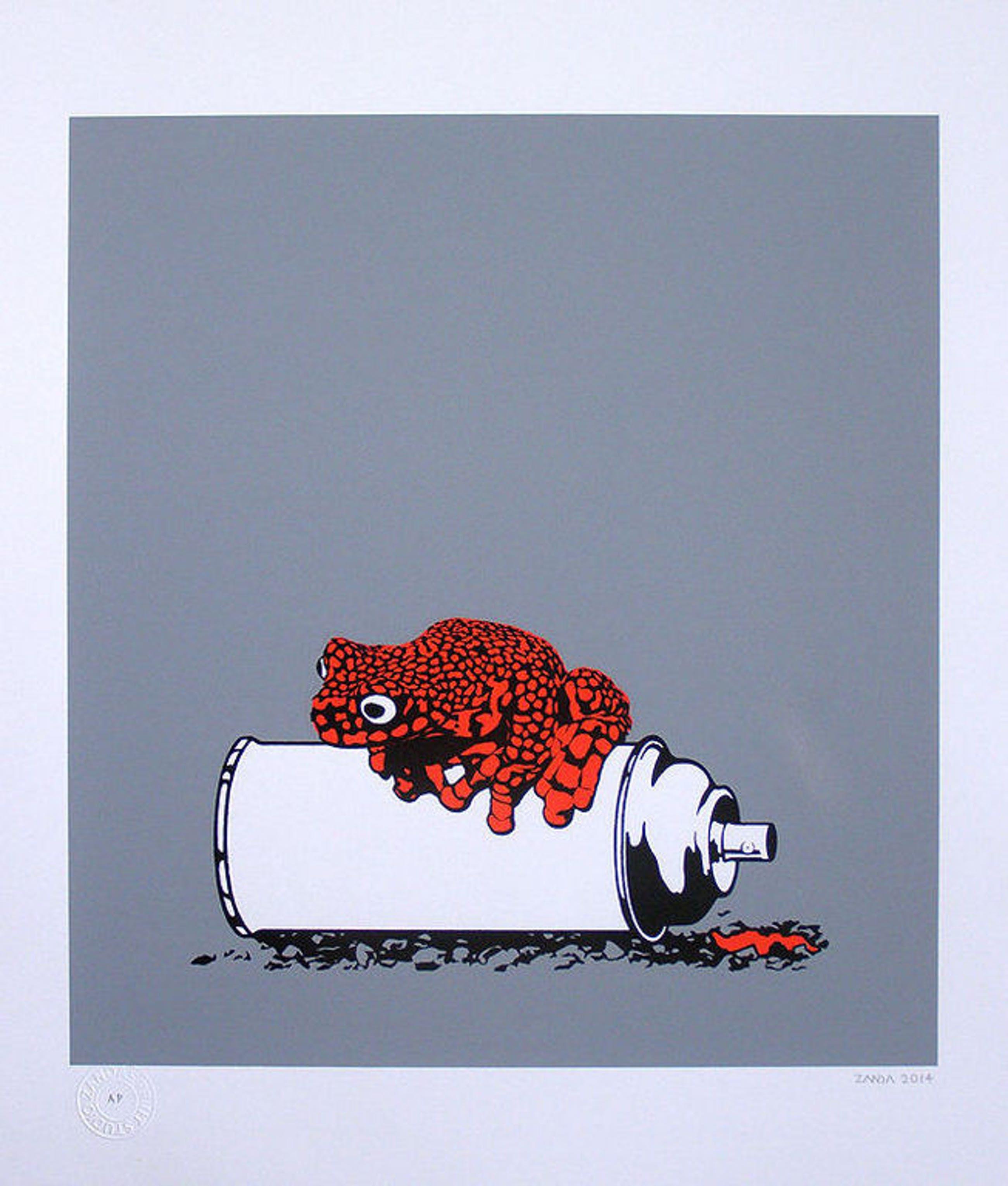 """Alex Zanda, """"Frog on a spray can"""", gesigneerde zeefdruk, Artist's Proof, 2014. kopen? Bied vanaf 95!"""