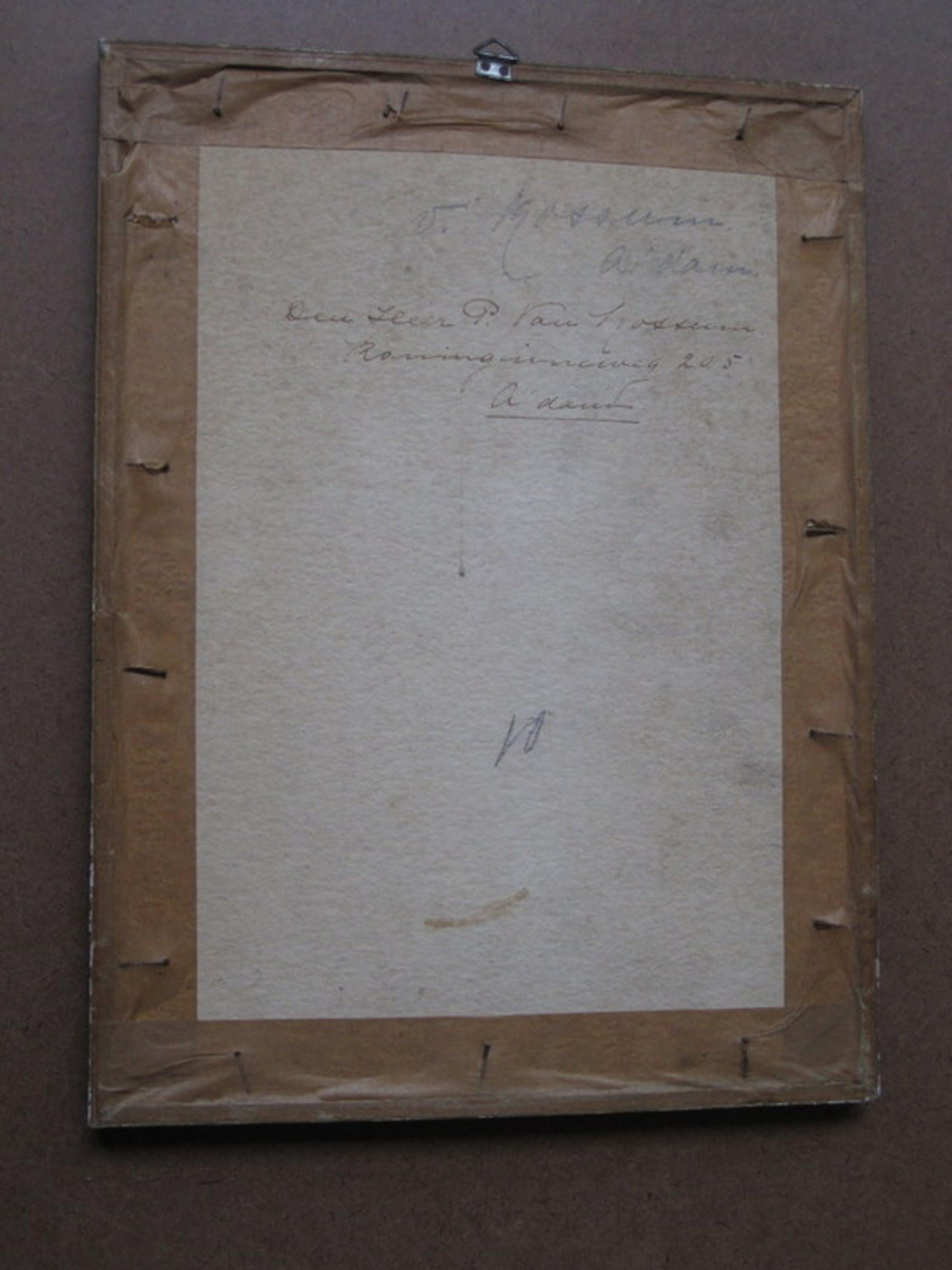 """Fraai 1930 Aquarel """"vrouw in Vissersdorp"""" van Larense Scholer Willem Knip (1883- kopen? Bied vanaf 1!"""