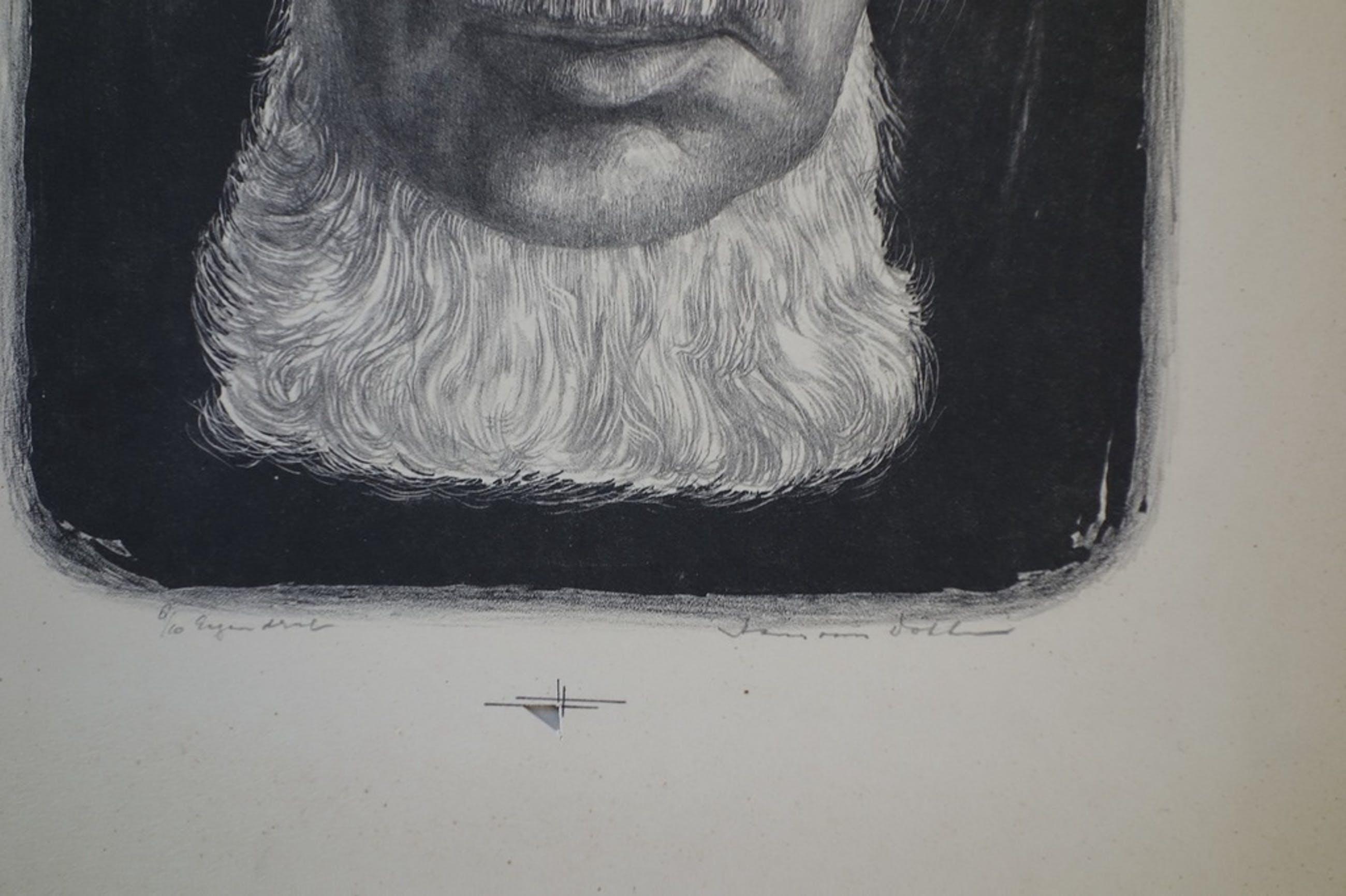 Hans van Dokkum, zelf portret, litho jaren 60. kopen? Bied vanaf 1!
