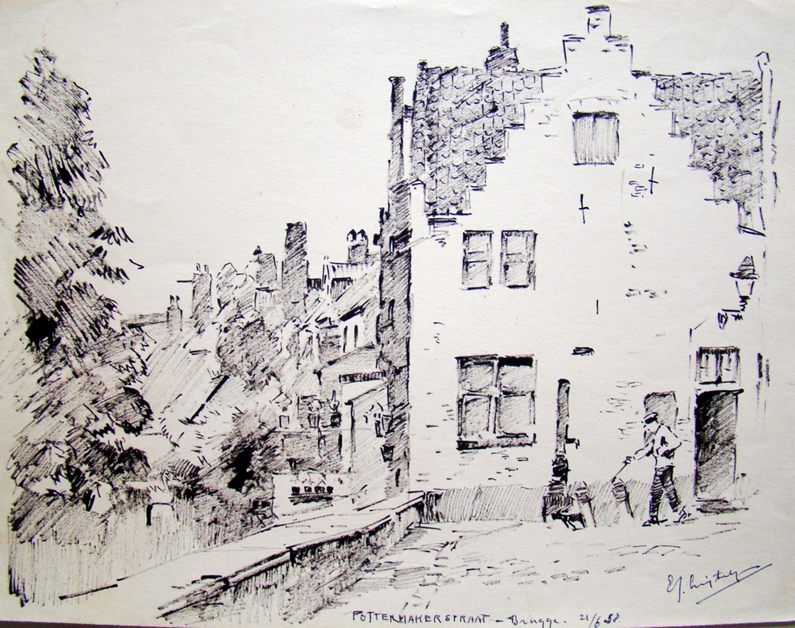 Evert-Jan Ligtelijn (1893-1975) - Inkttekening Brugge 1958 kopen? Bied vanaf 100!