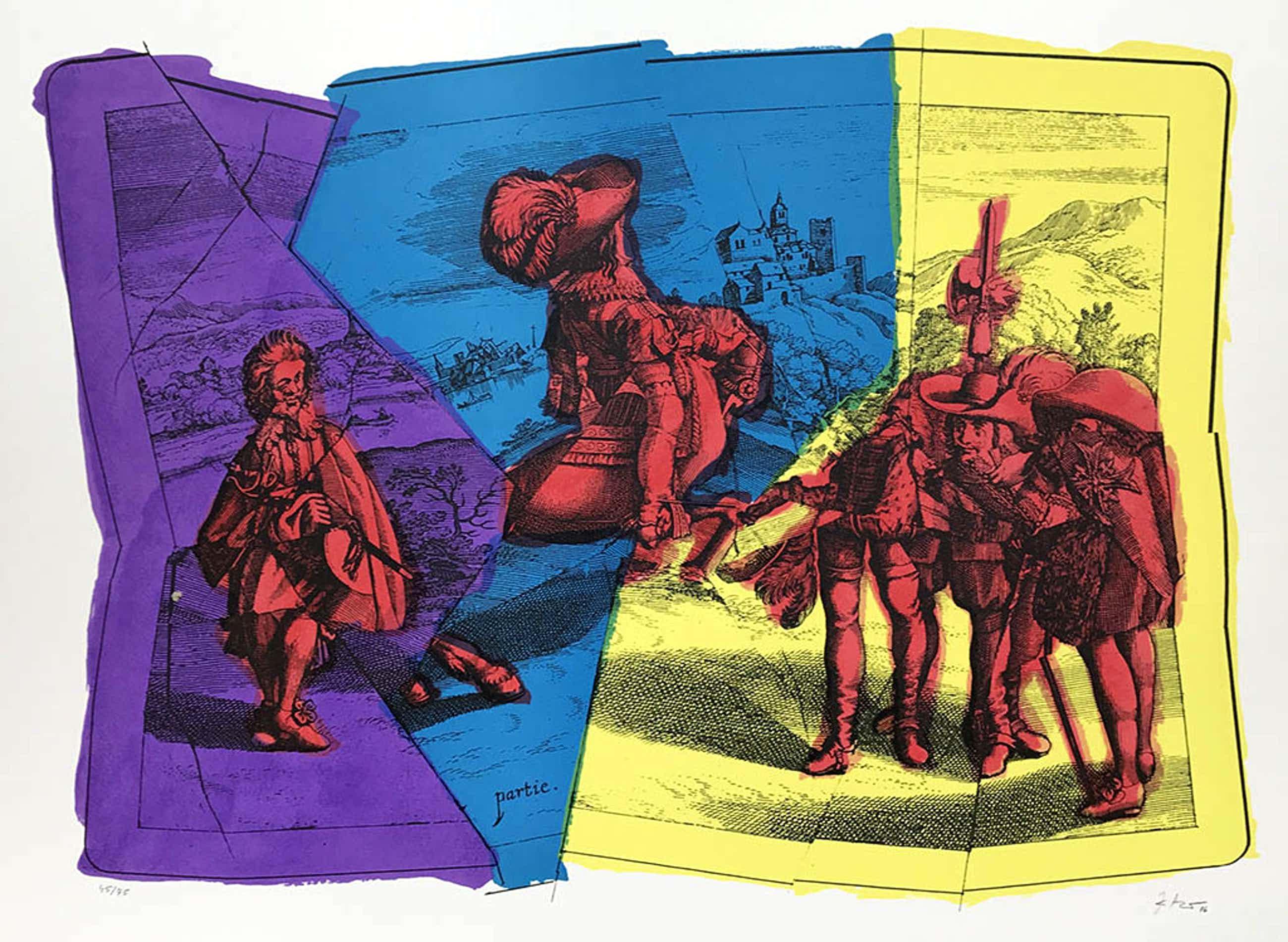 Jiri Kolar - Jirí Kolár - Cavalerie royale - gesigneerde lithografie - oplage 75 - 1986 kopen? Bied vanaf 95!