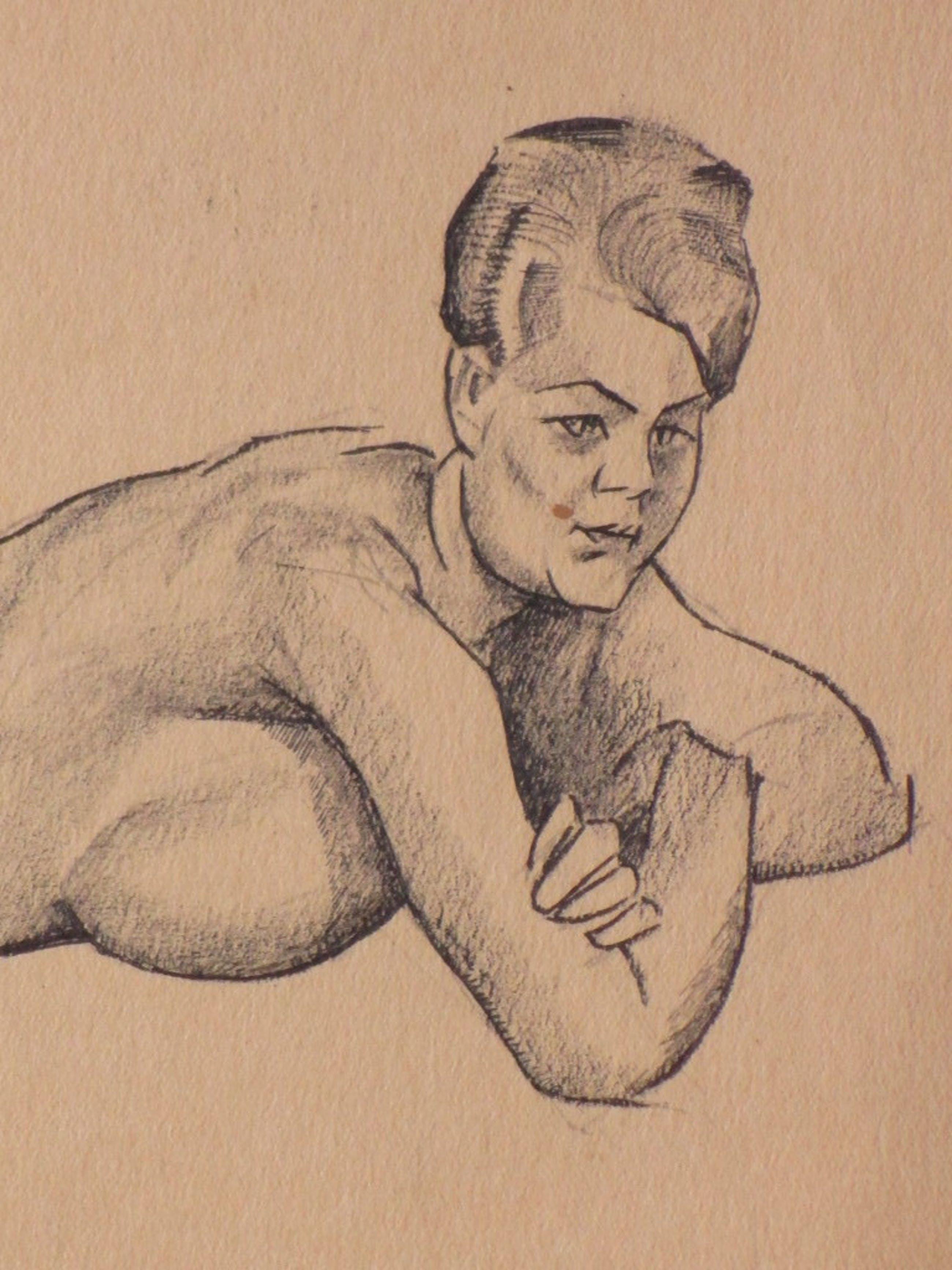 Herman Bieling, Liggende naakte vrouw, Tekening 1919 kopen? Bied vanaf 1!