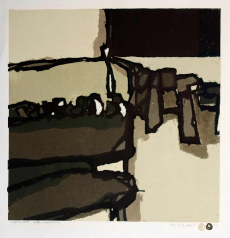 Fon Klement - Fon Klement, boardsnede uit 1971. titel: Abiogenesis. beeldformaat 50 x 50 cm. kopen? Bied vanaf 75!