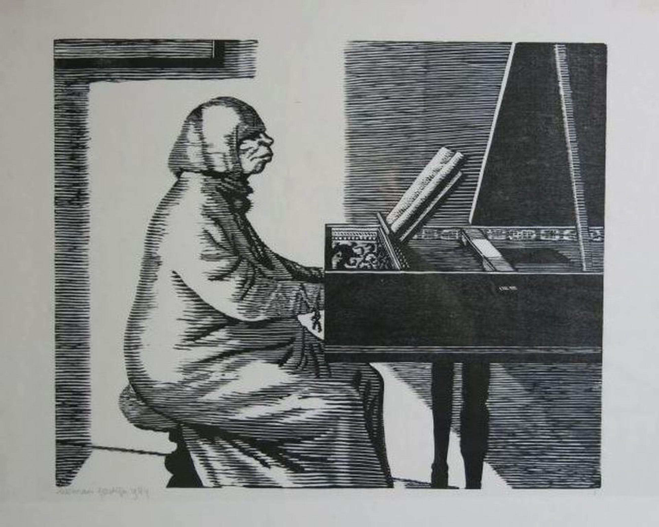 Herman Gordijn: Houtsnede, Vrouw speelt Klavecimbel kopen? Bied vanaf 80!