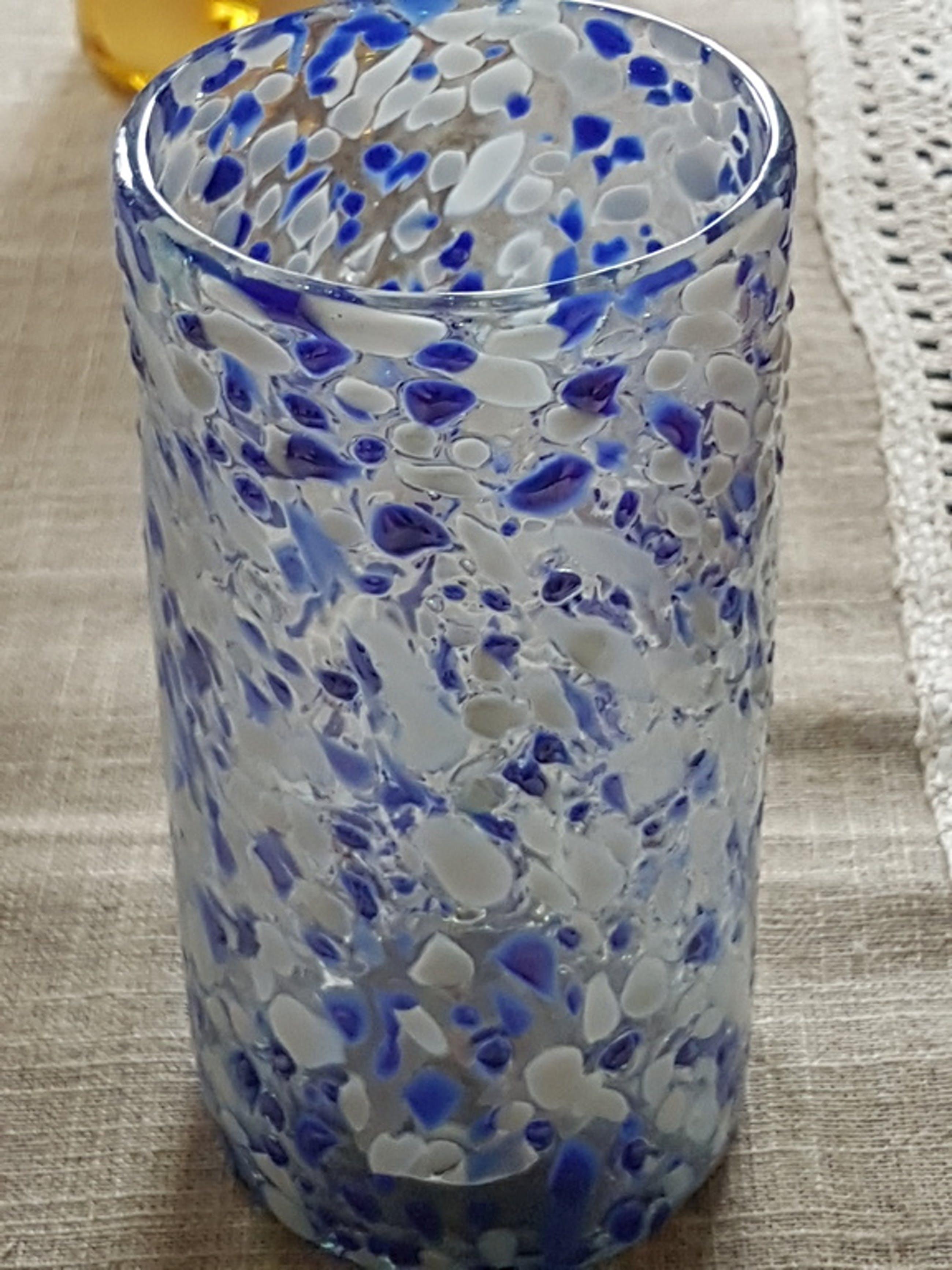 Blu cobalto-Venezia-Pulegoso glas-vaas H 18 cm x 8 cm kopen? Bied vanaf 1!