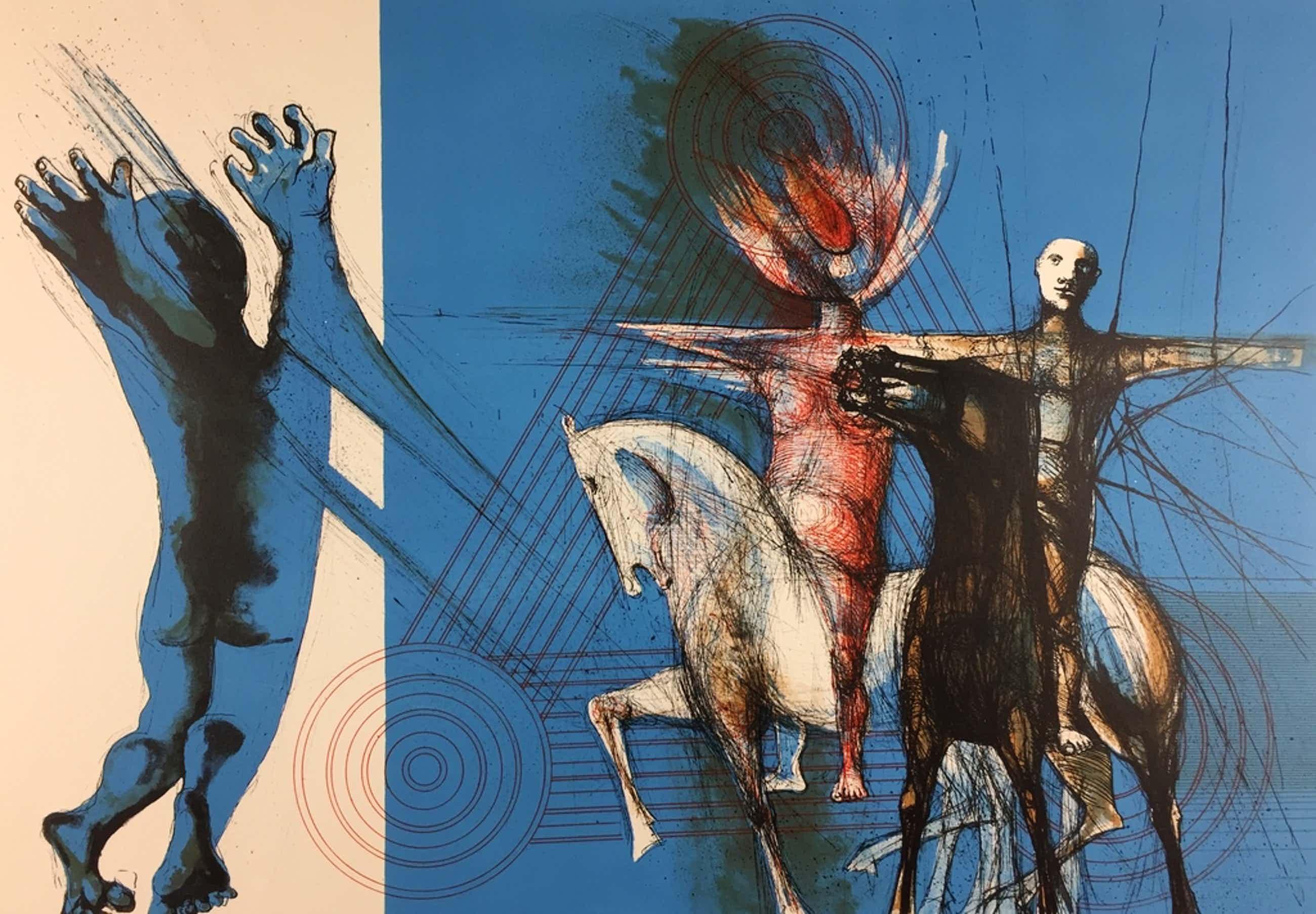 Aat Verhoog, litho, 'Ruiters van de tijd', 1965 kopen? Bied vanaf 79!