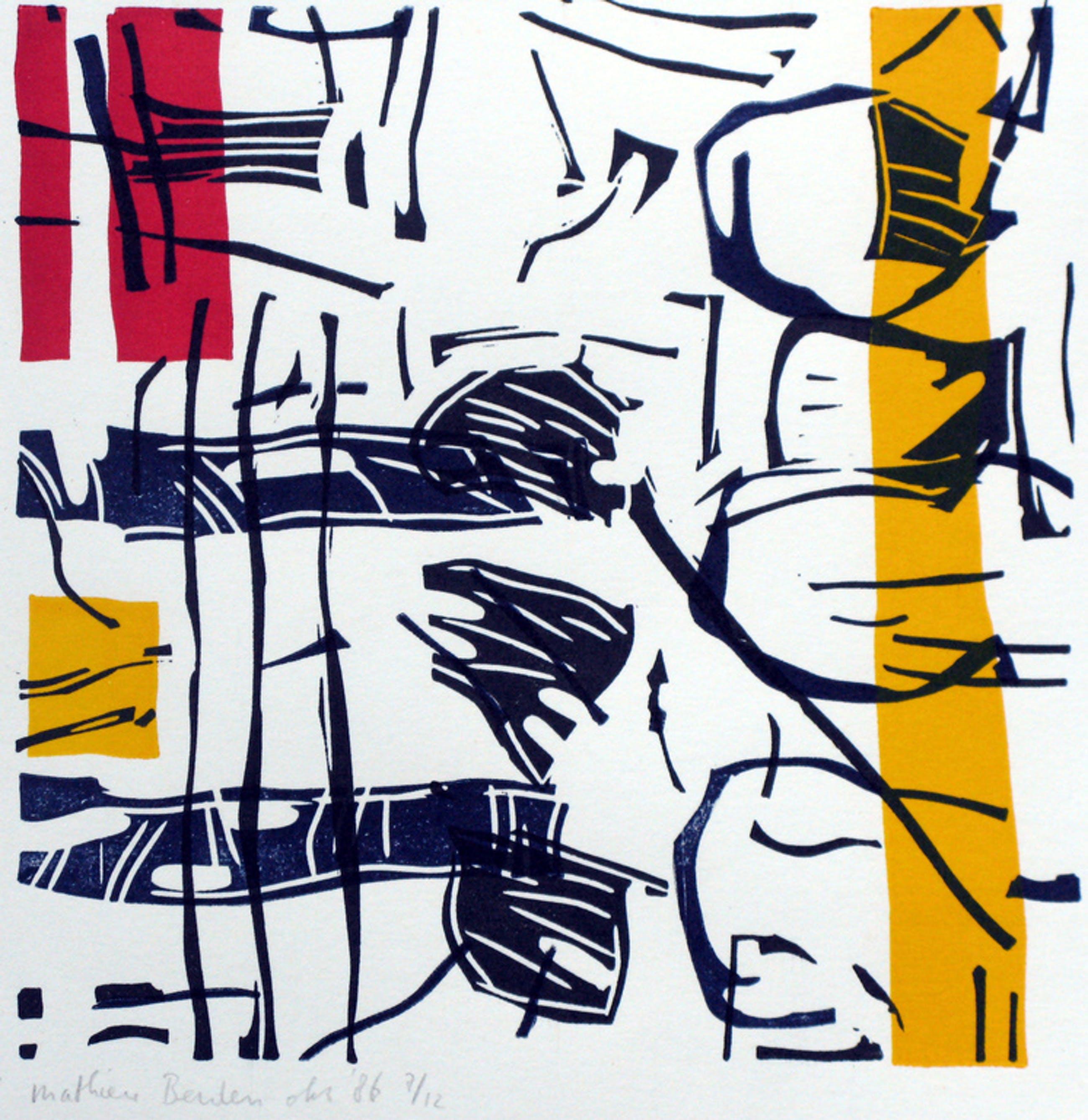 MATHIEU BERDEN - abstract werk LINOSNEDE gesigneerd & INGELIJST.  kopen? Bied vanaf 50!