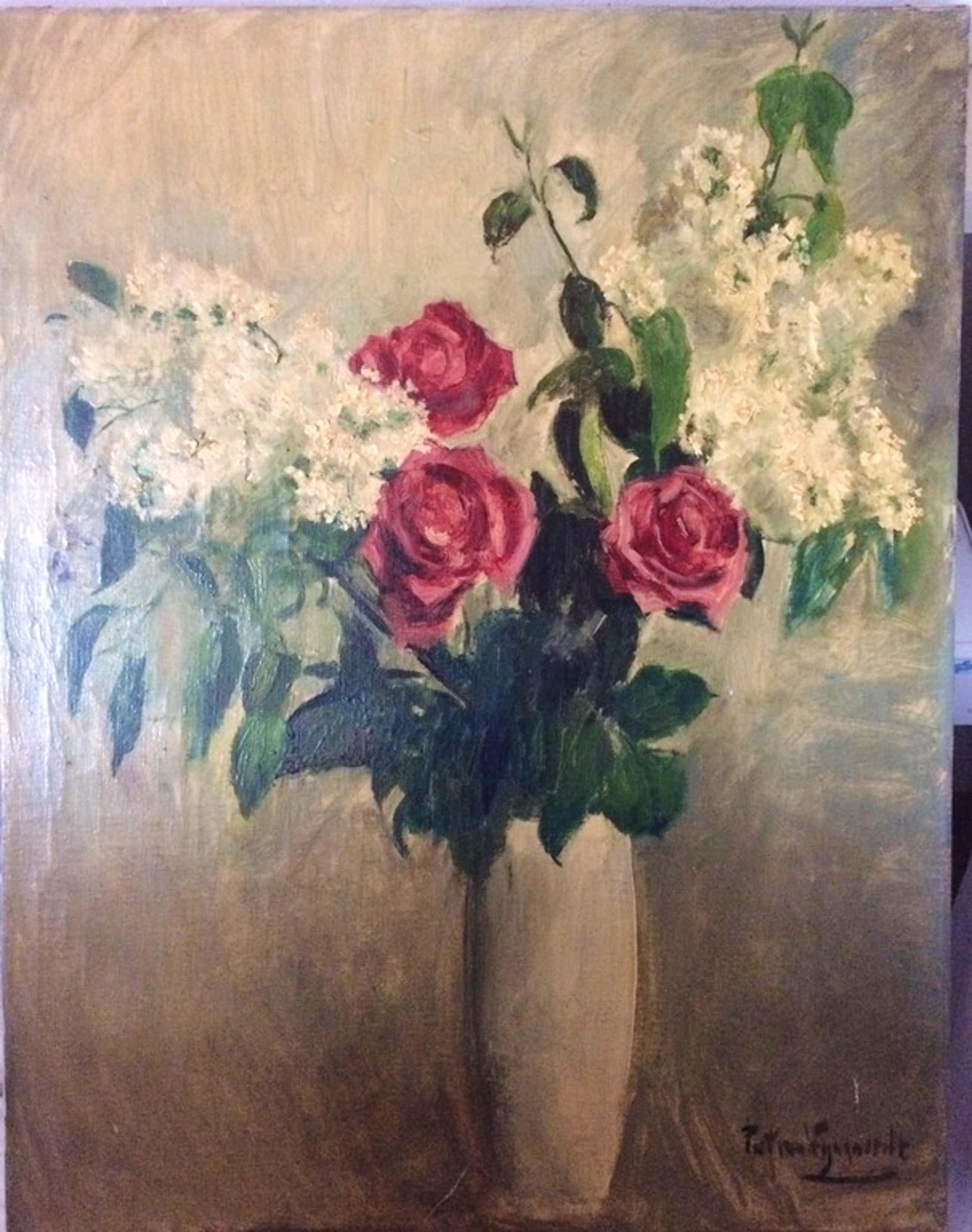Stilleven met bloemen in olieverf, van Piet van Wijngaerdt. Datum onbekend.  kopen? Bied vanaf 160!