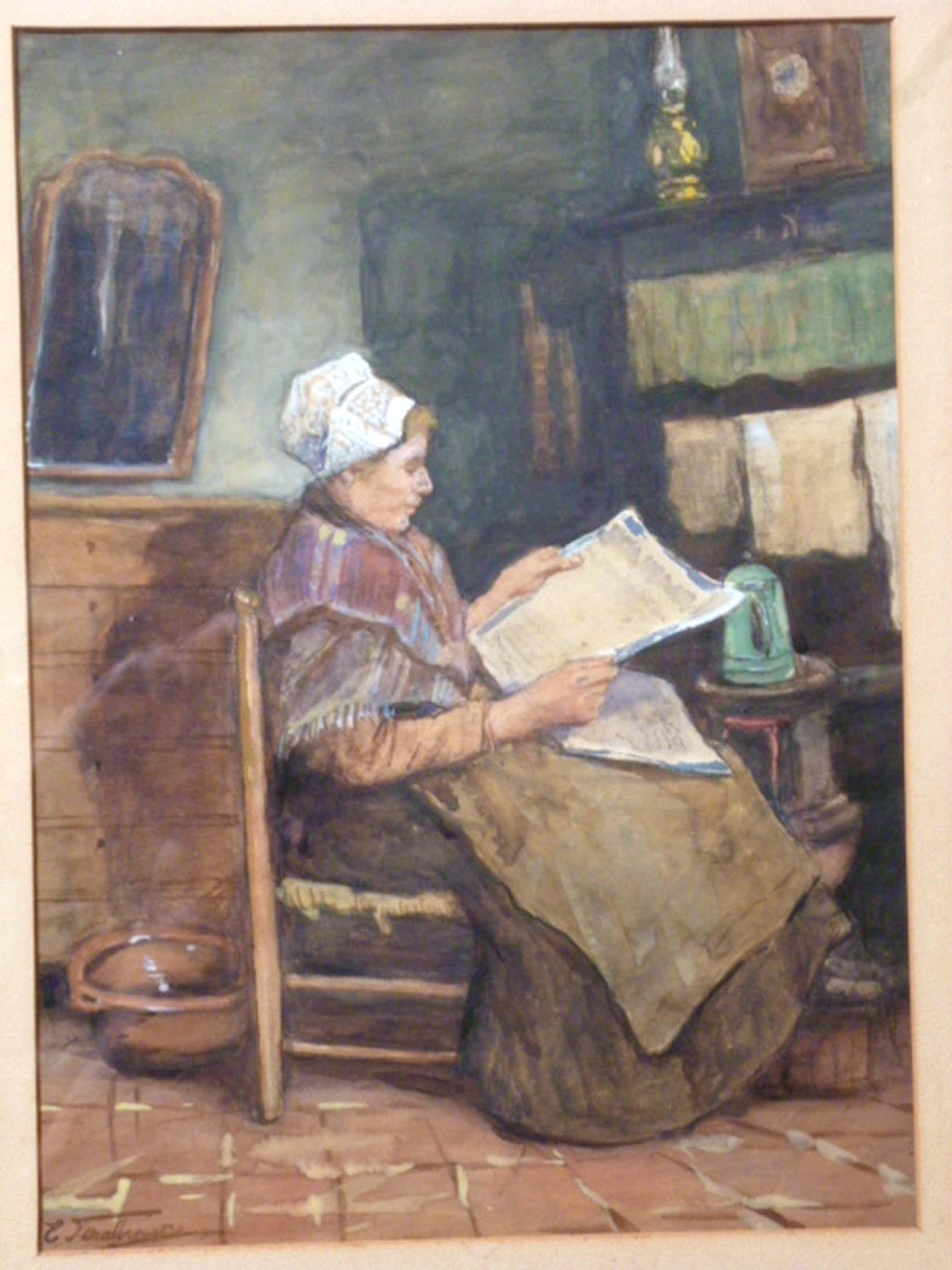 Eduard Schalbroeck - aquarel - Boerin leest krant kopen? Bied vanaf 150!