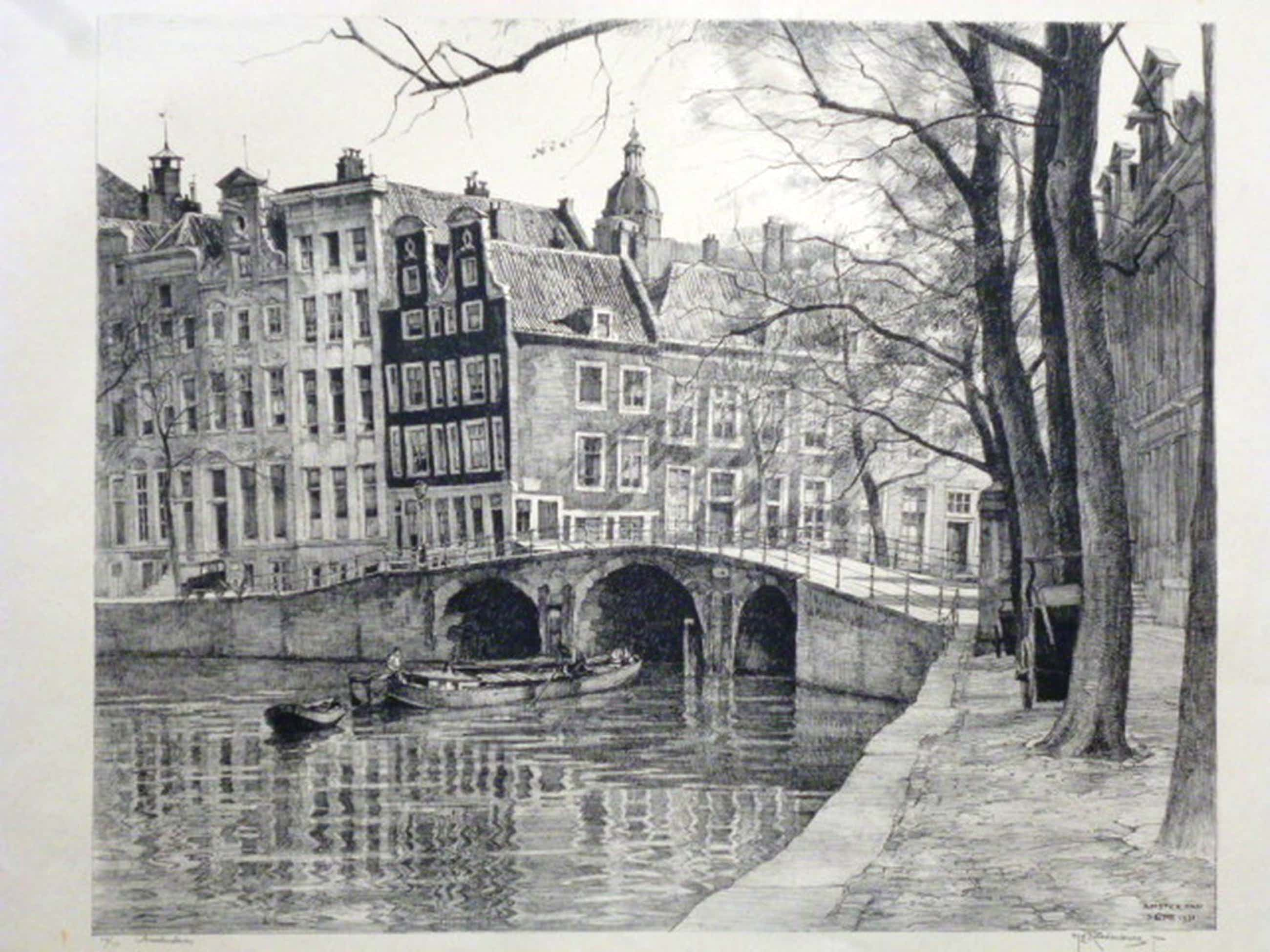 H.E.Roodenburg - litho - Heerengracht/Leidschegracht, Amsterdam kopen? Bied vanaf 70!