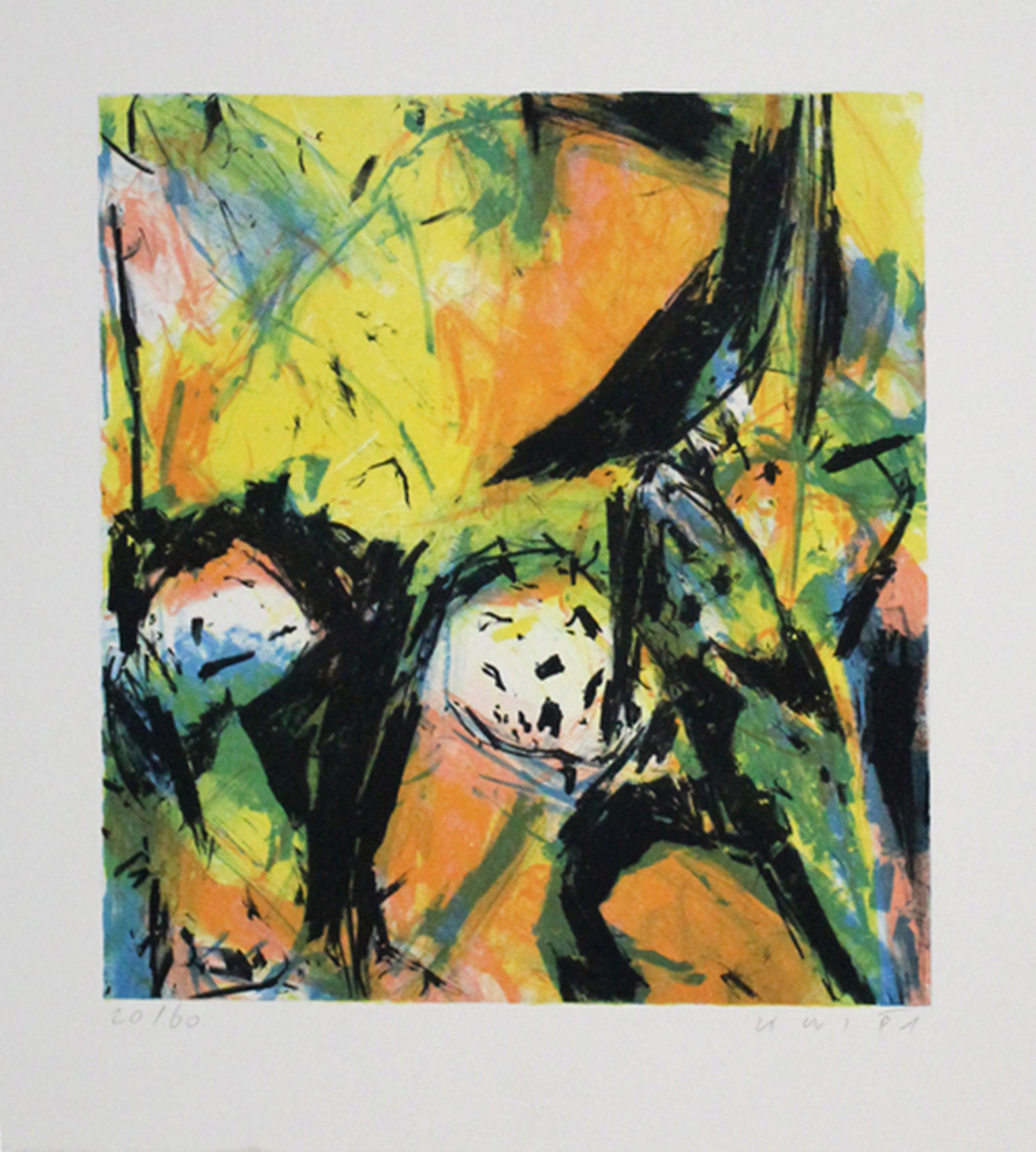 """Konrad Winter, kleurenlithografie, """"Kompositie"""", 1991 kopen? Bied vanaf 30!"""