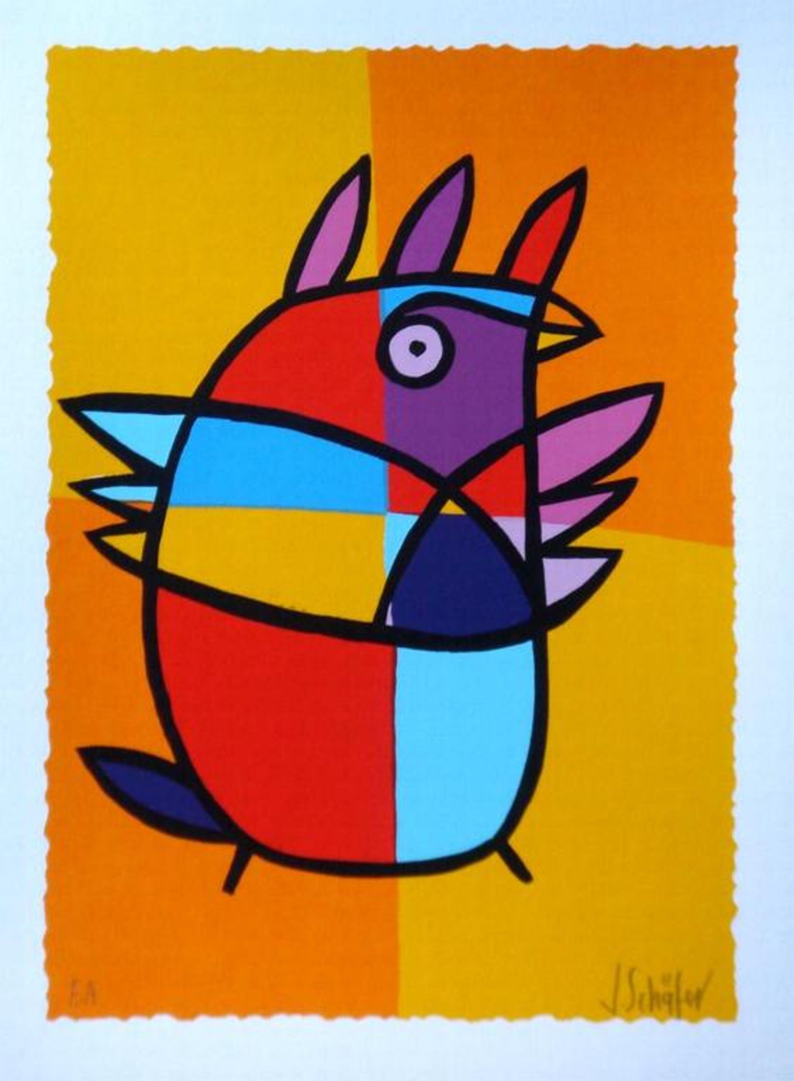 JACQUELINE SCHÄFER, originele handgesign. zeefdruk 'Gele vogel' kopen? Bied vanaf 1!