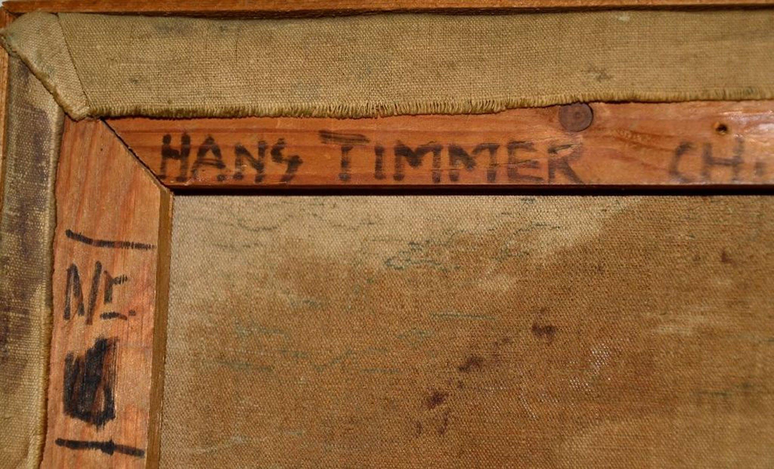 Hans Timmer: Olieverf met collage op doek. Huis met trappen kopen? Bied vanaf 125!
