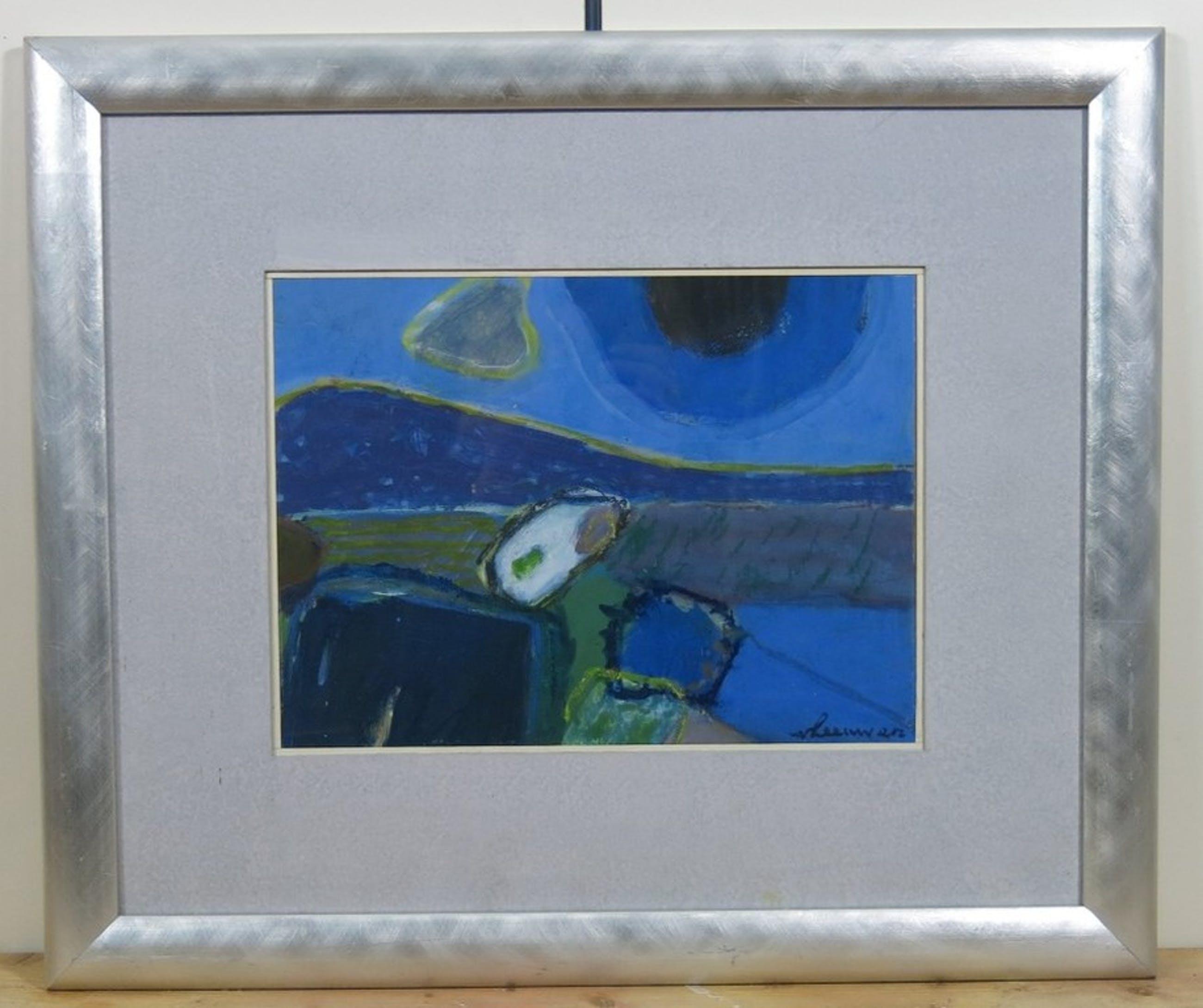 Wil van Leeuwen: Gouache, Abstract in blauwtinten - Ingelijst kopen? Bied vanaf 150!