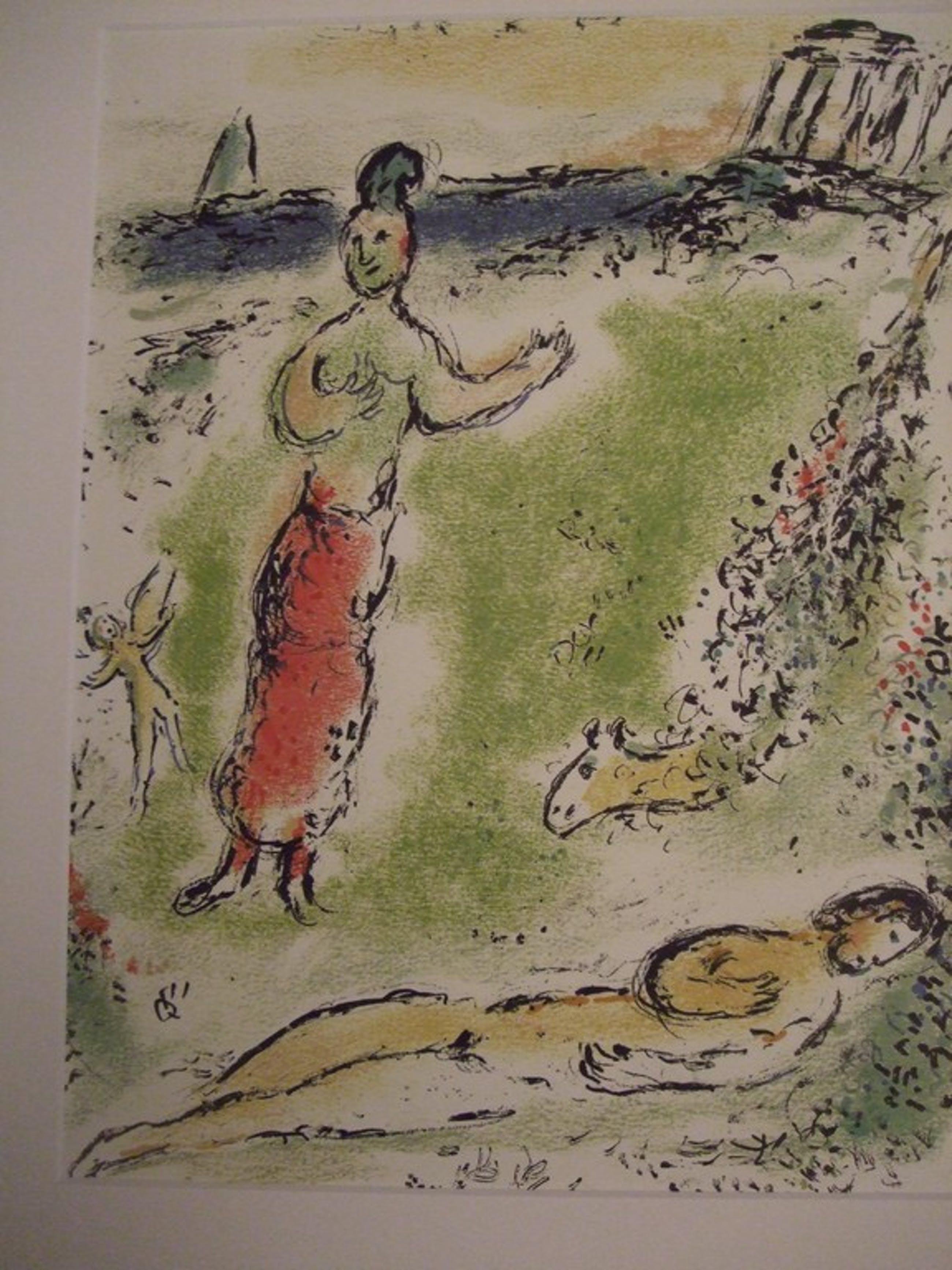 Marc Chagall, kleurenlitho  uit de serie Odysseus Athene senkt Odysseus in den schlaf kopen? Bied vanaf 50!