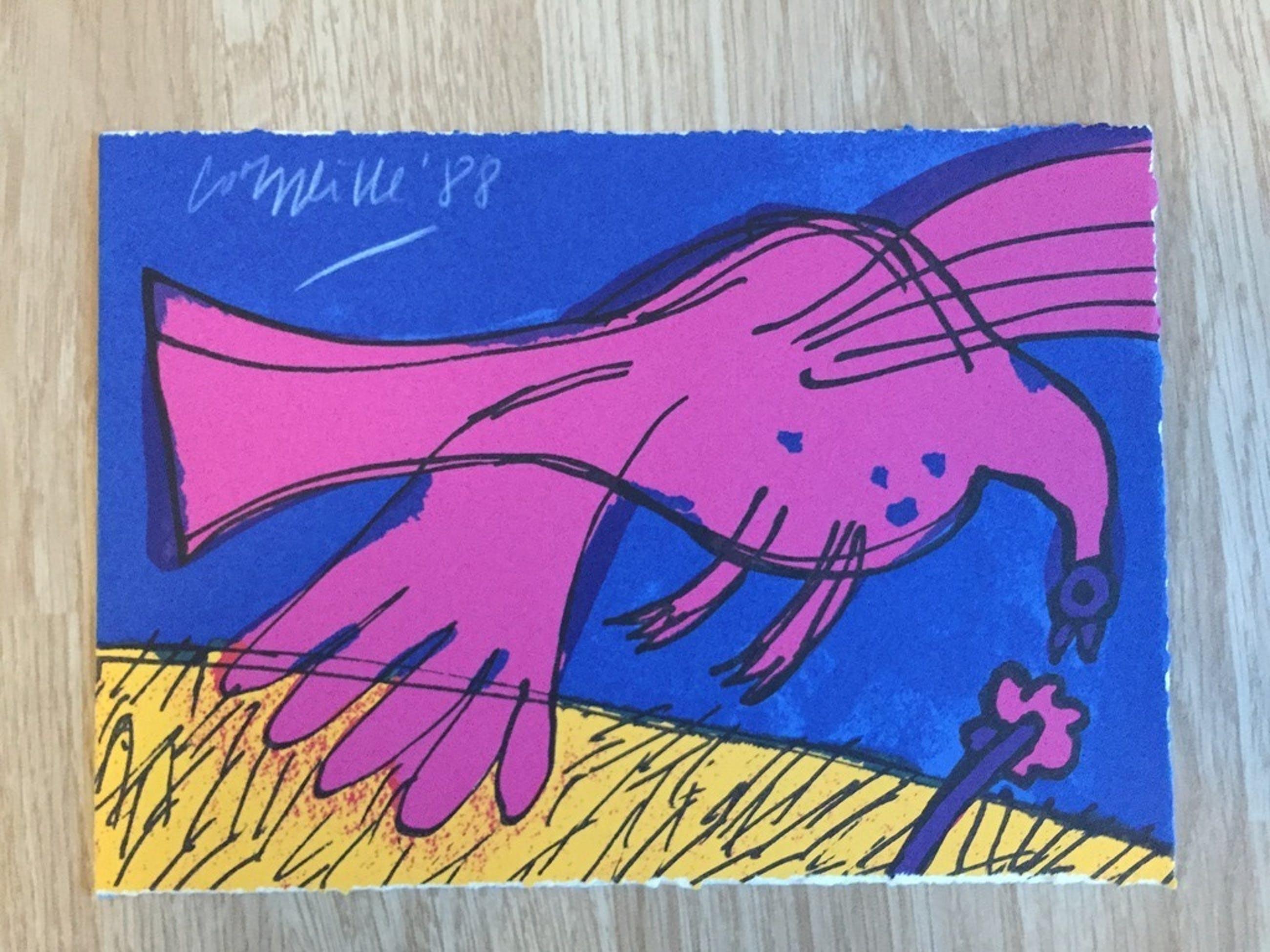 Corneille originele zeefdruk 1988 met persoonlijke tekst ! kopen? Bied vanaf 35!