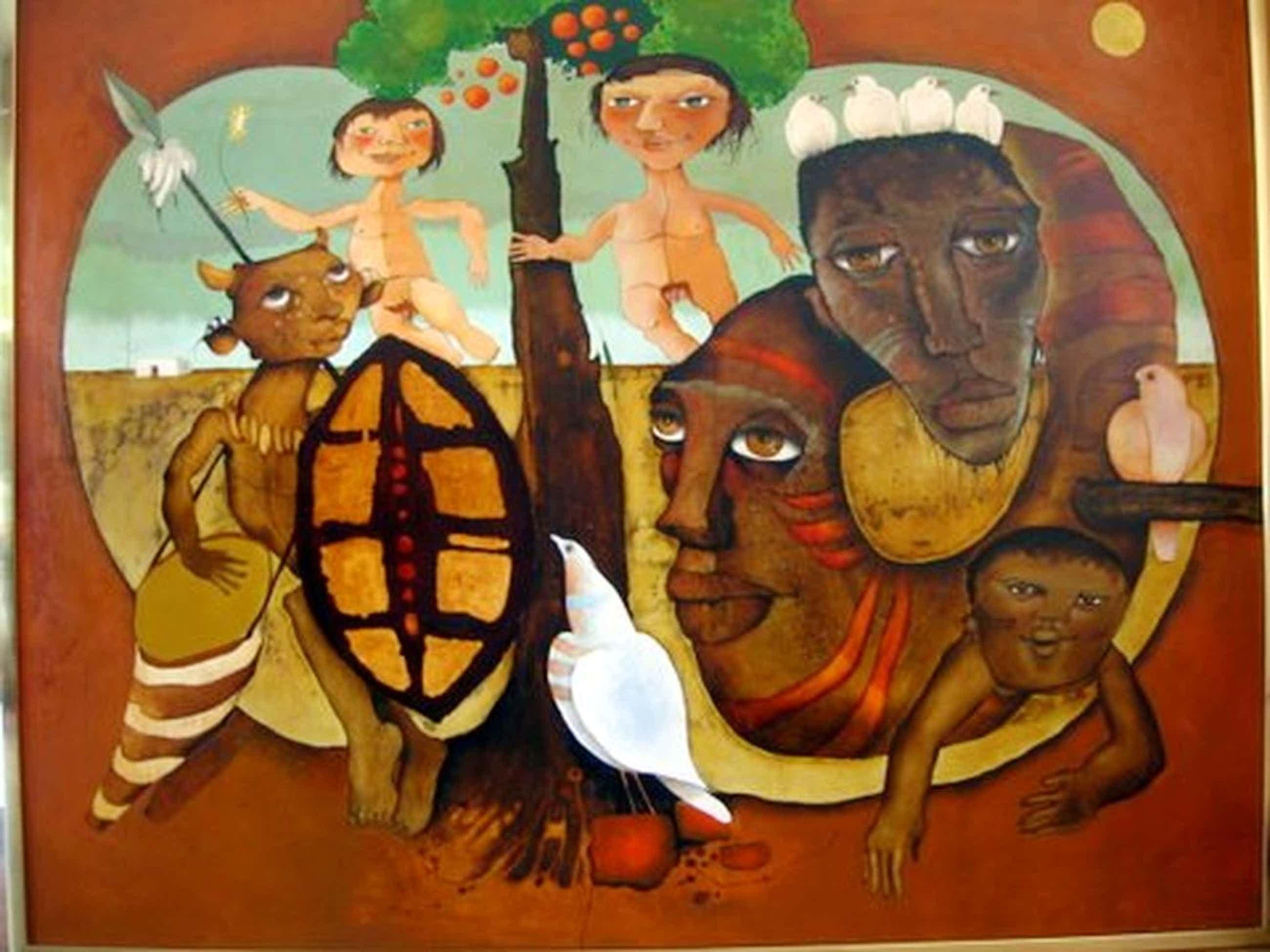 Machiel Hopman pseudoniem Nzama, olieverf op paneel in kleur, Apartheid Z-Afrik  kopen? Bied vanaf 800!