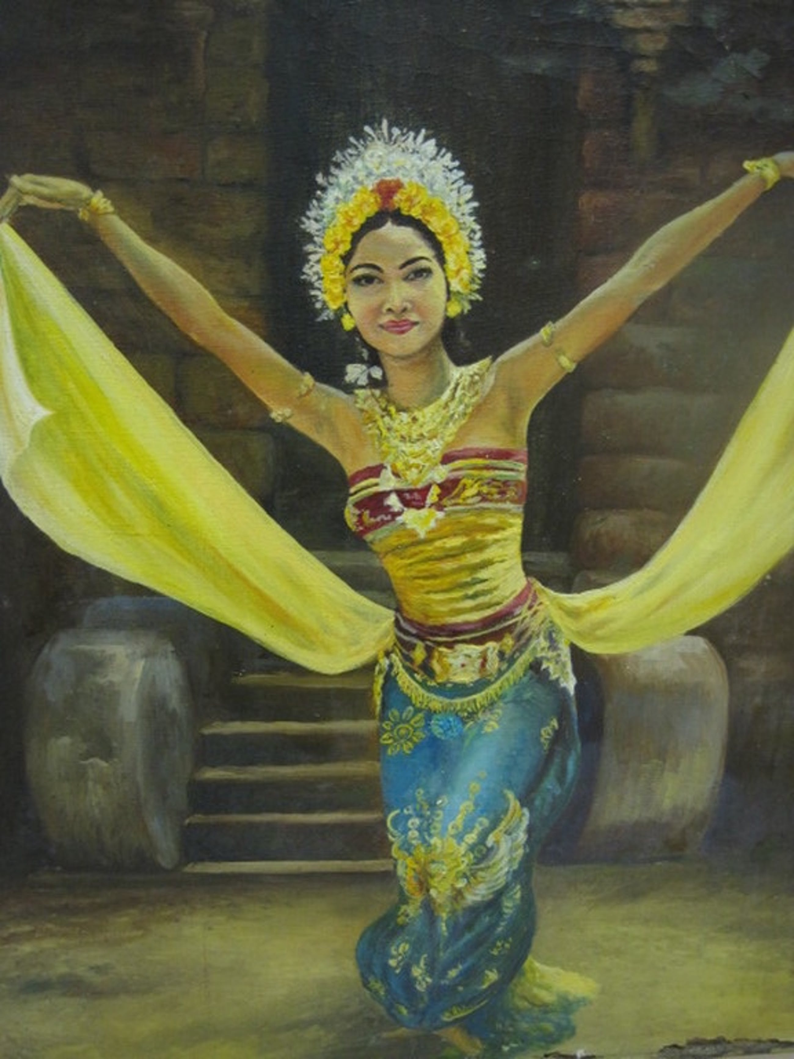 gesigneerd F.Eekhout olieverf Indonesie Bali danseres ca. 1920 kopen? Bied vanaf 1!