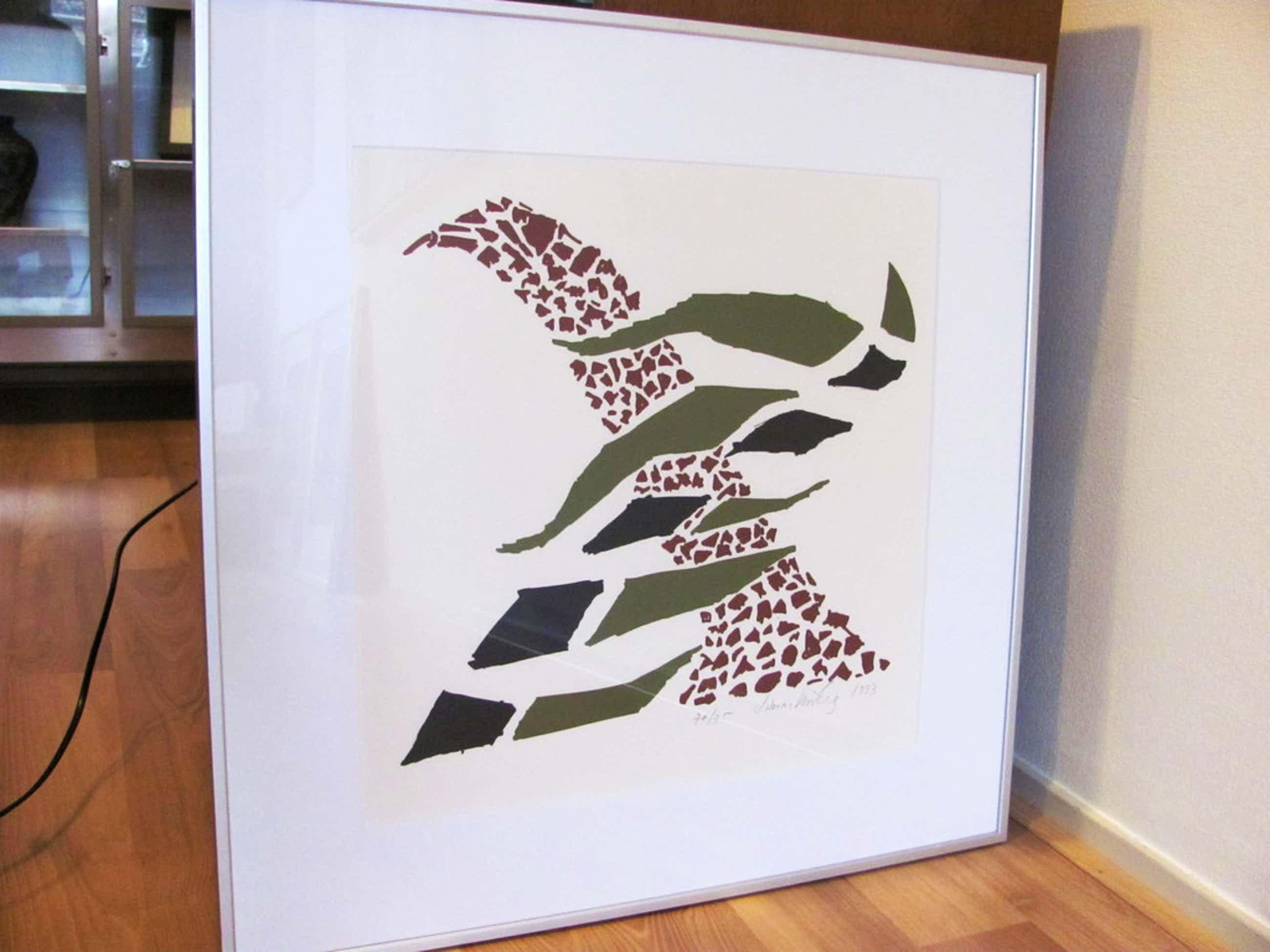 2 zeefdrukken: abstracte compositie en een mooi gedicht kopen? Bied vanaf 60!