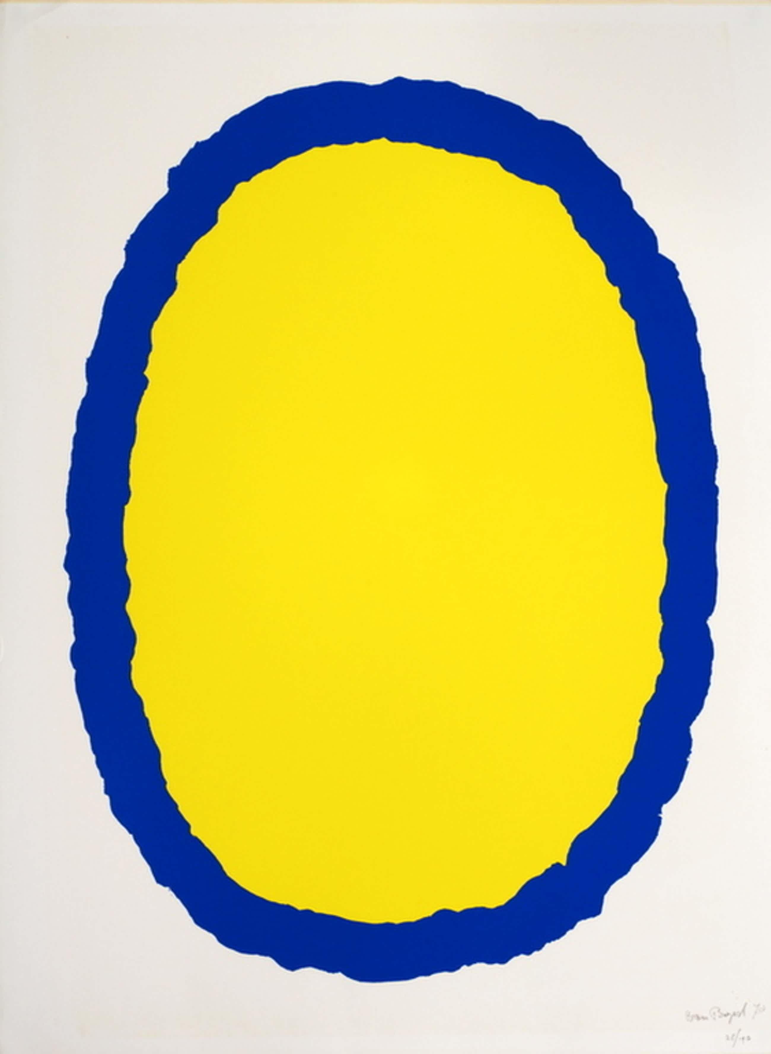 Bram Bogart - Geel blauw - Handgesigneerde litho - oplage 190 ex. - 1978  kopen? Bied vanaf 450!