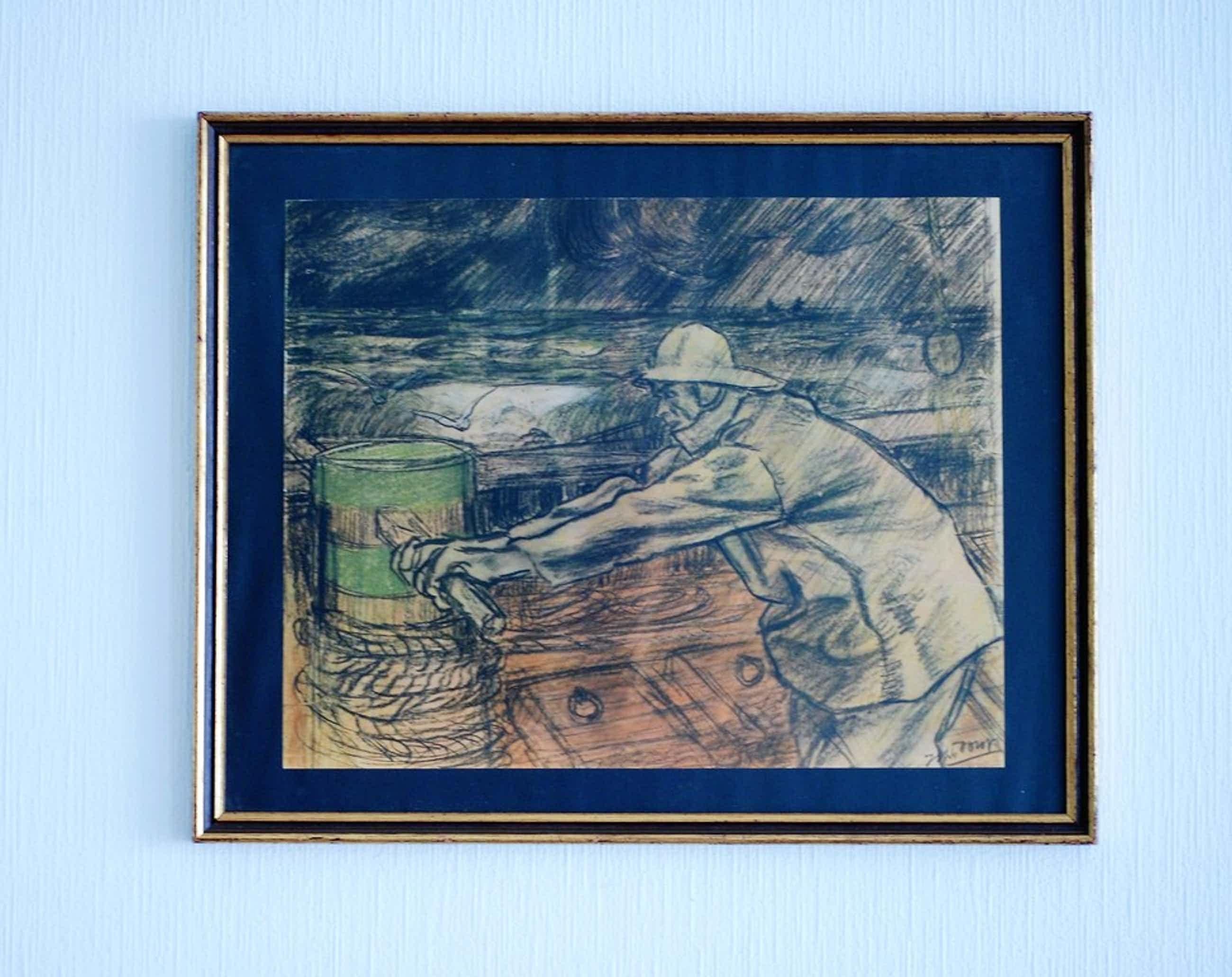 """Jan Toorop (1858-1928) -  Koperdiepdruk  """"Zeeman"""" 1900 in orginele lijst kopen? Bied vanaf 70!"""