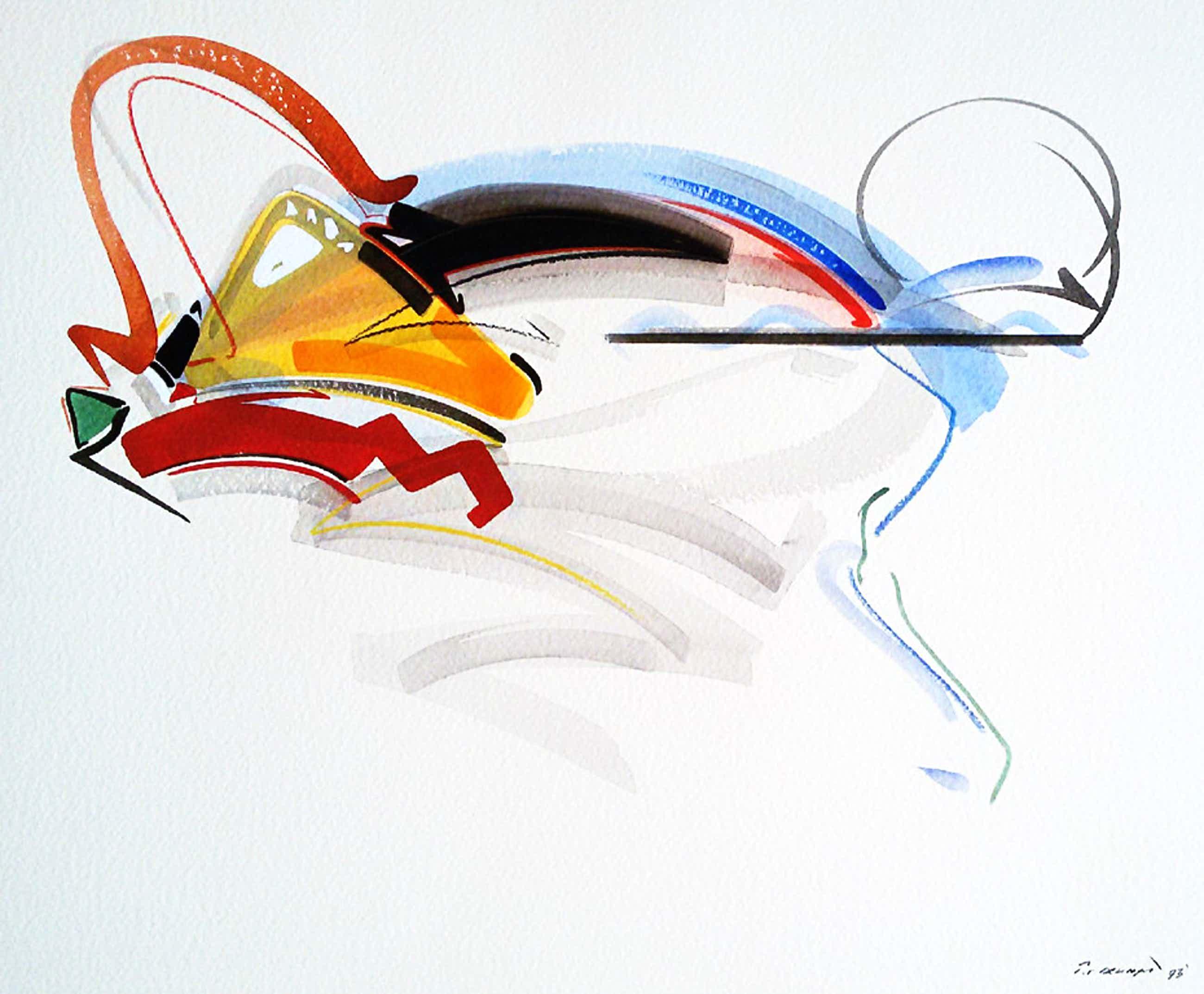 Peter van Drumpt - Abstracte voorstelling, gemengde techniek op papier kopen? Bied vanaf 55!