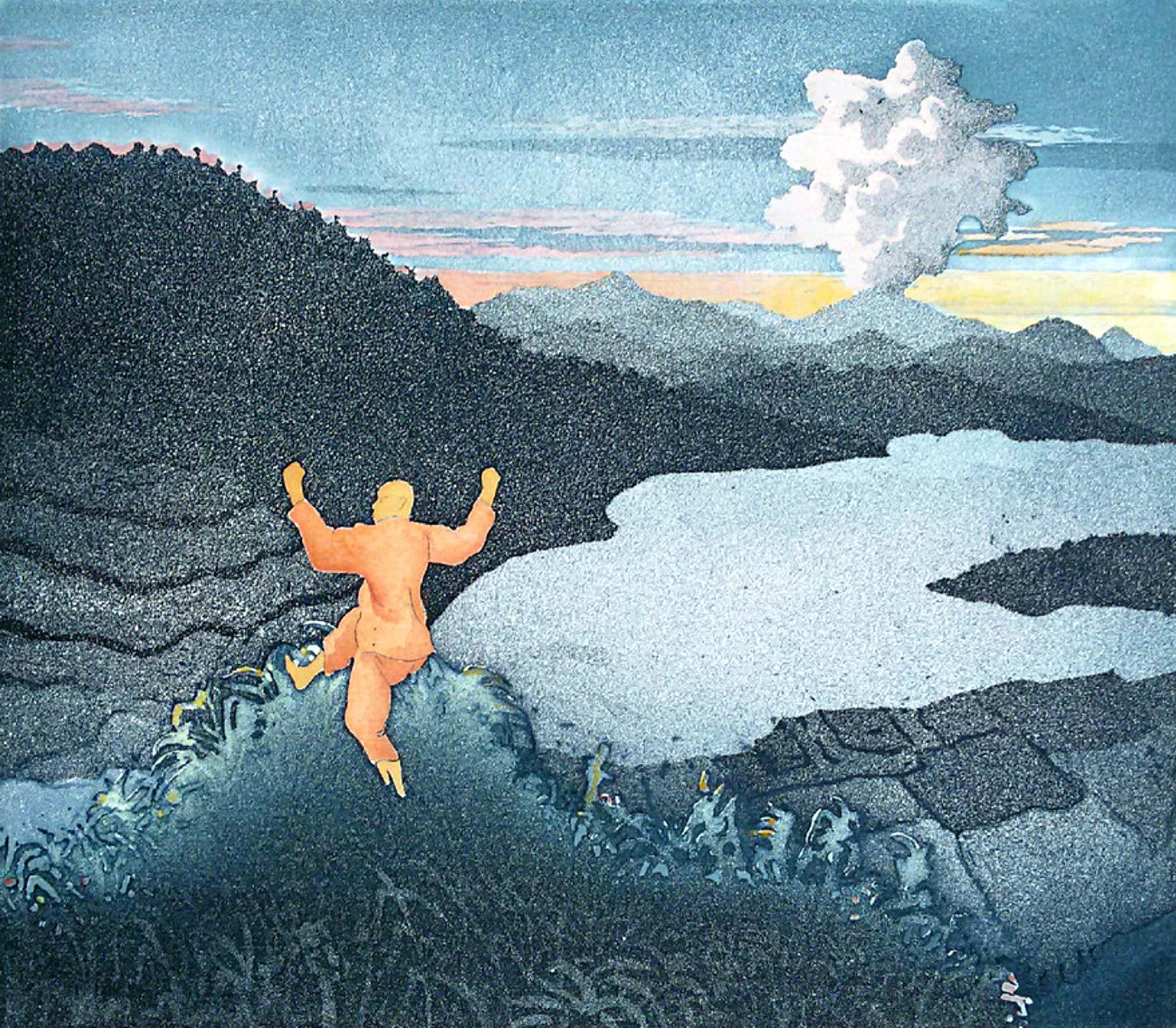 Sjoerd Bakker - Springende man in Aziatisch landschap, aquatint ets kopen? Bied vanaf 110!