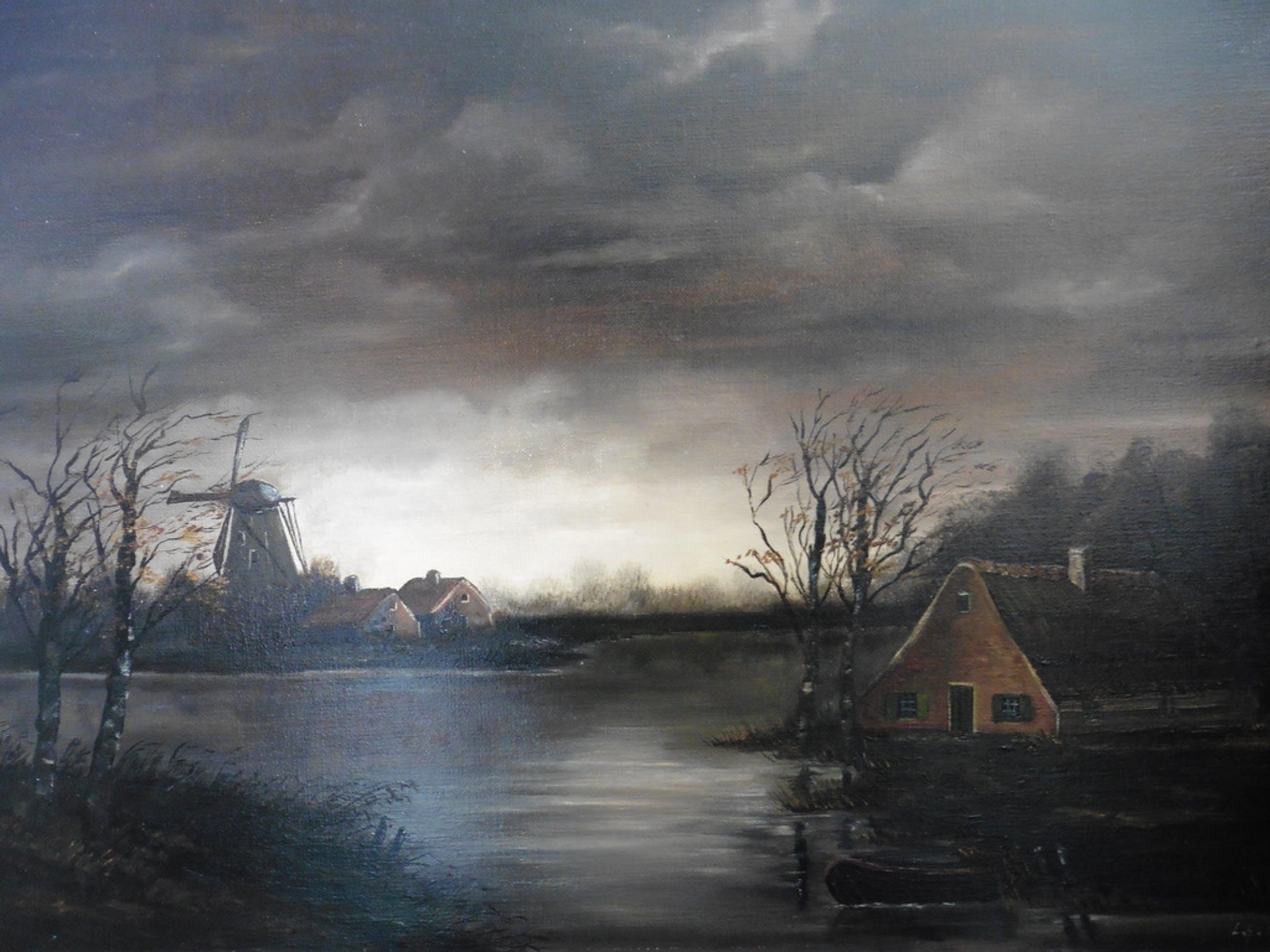 L. Haans - Olieverf op doek - Hollands polderlandschap in herfst bij avondlicht kopen? Bied vanaf 65!
