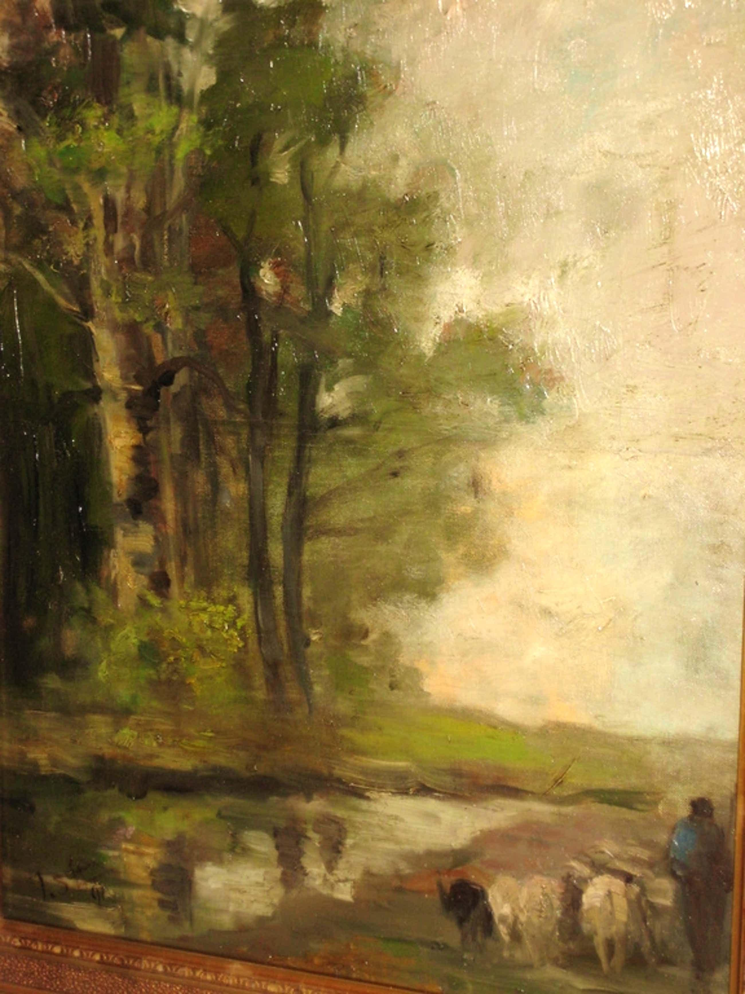 19e eeuws landschap olieverf op doek gesigneerd kopen? Bied vanaf 45!