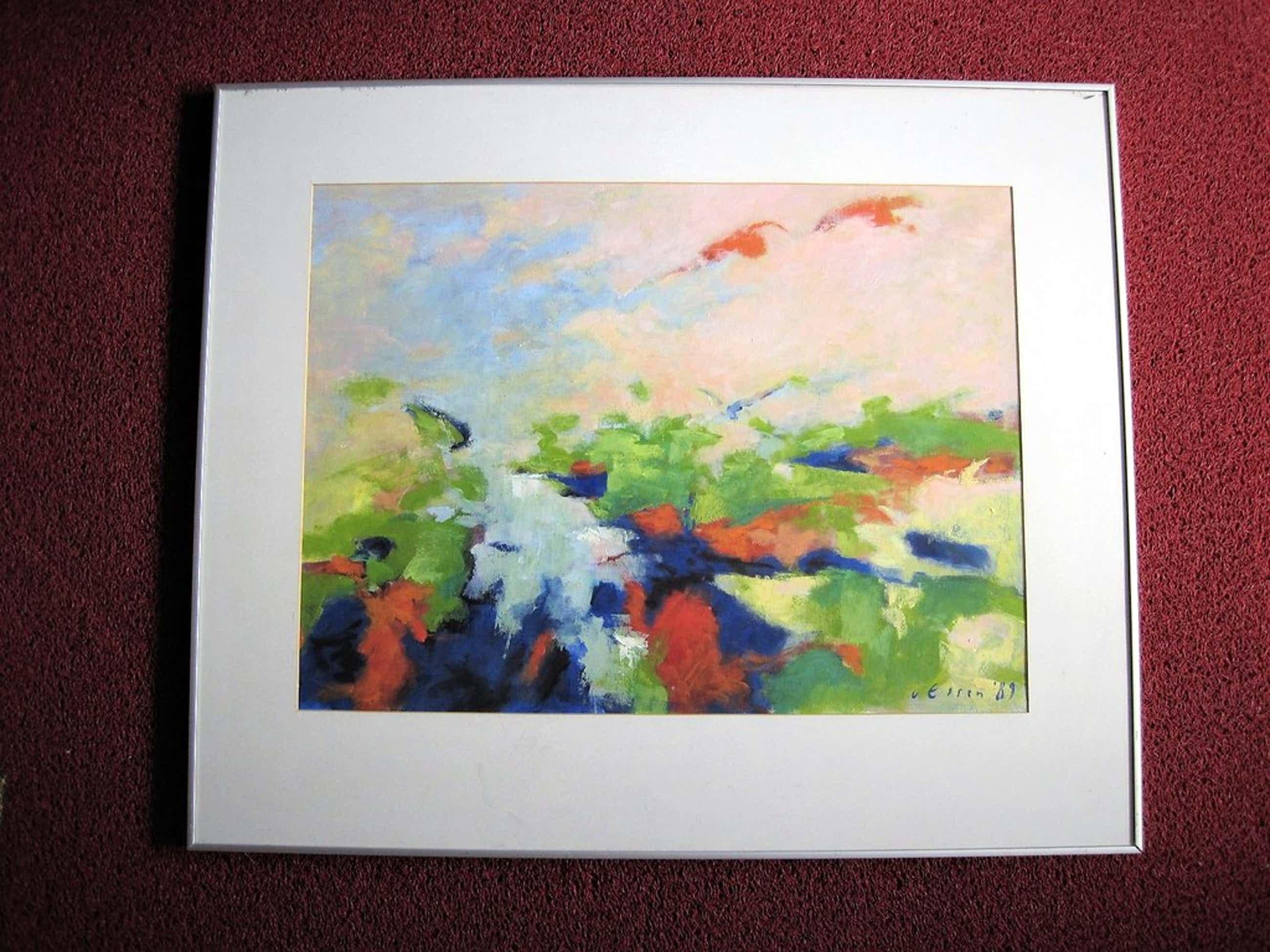 """Indrukwekkend GROOT Acrylverf/Tempera schilderij """"Land achter de Dijken"""" gesign. kopen? Bied vanaf 45!"""