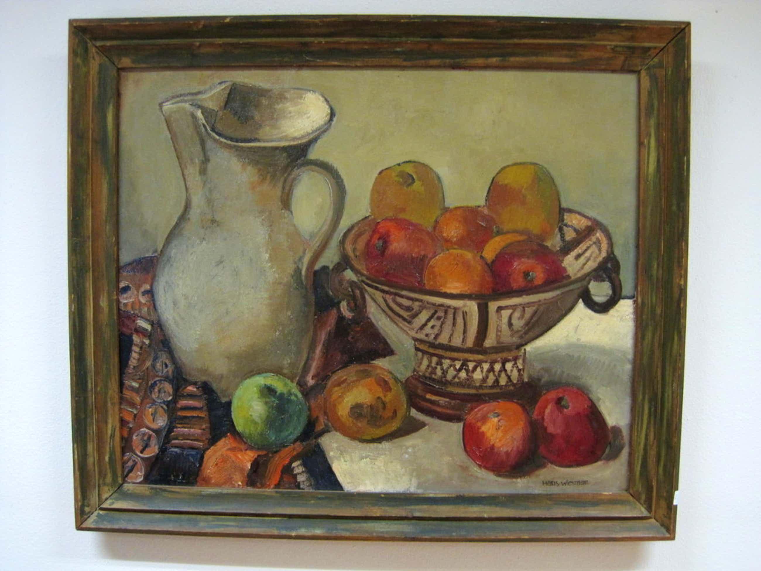 """Hans Wiesman 1918-1988 olieverf """"stilleven met appels"""" ca.1940  kopen? Bied vanaf 110!"""