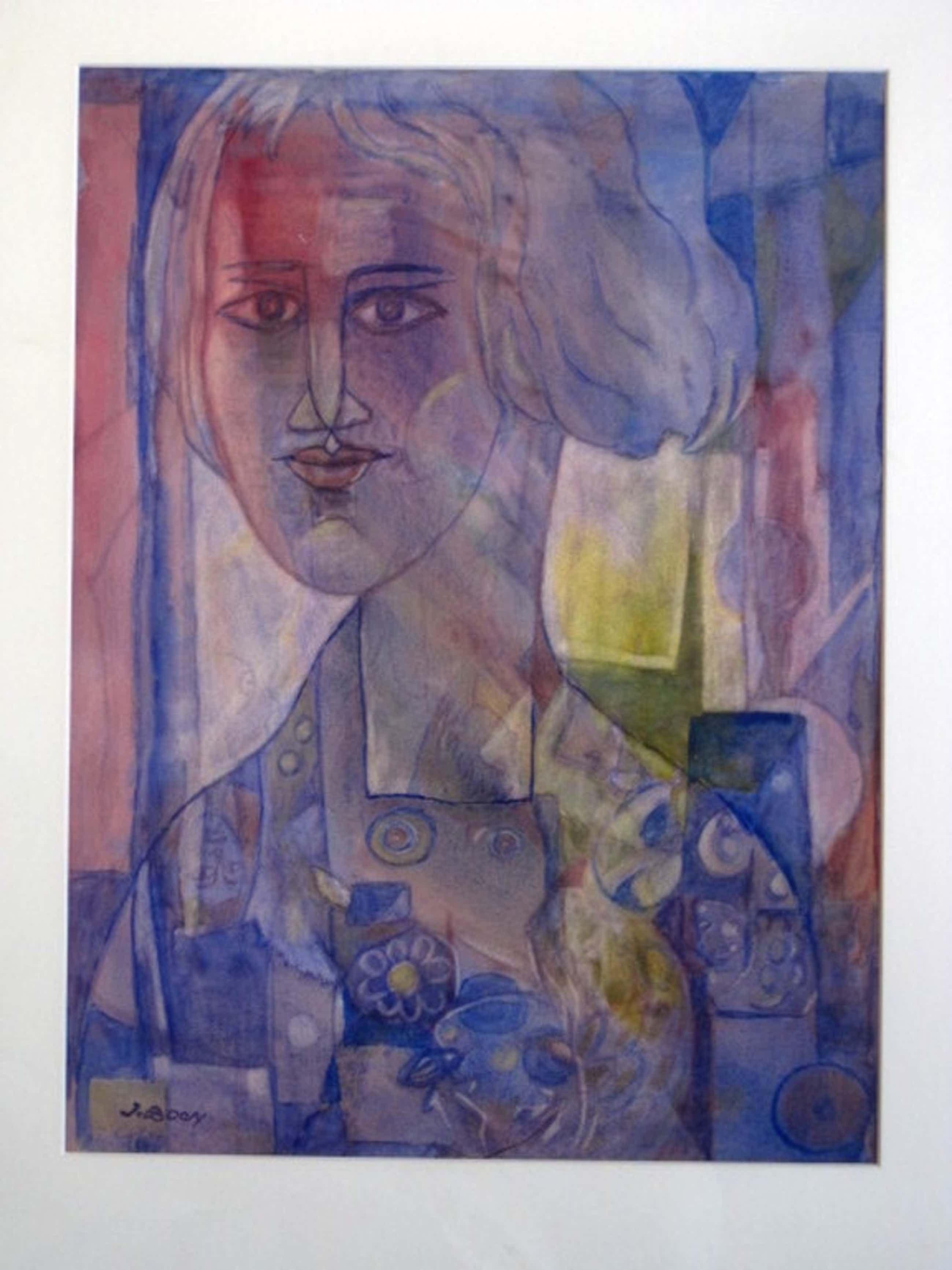 """Zeldzaam vroeg kubistisch """"damesportret"""" aquarel Jan Boon 1882-1975 gesigneerd kopen? Bied vanaf 240!"""