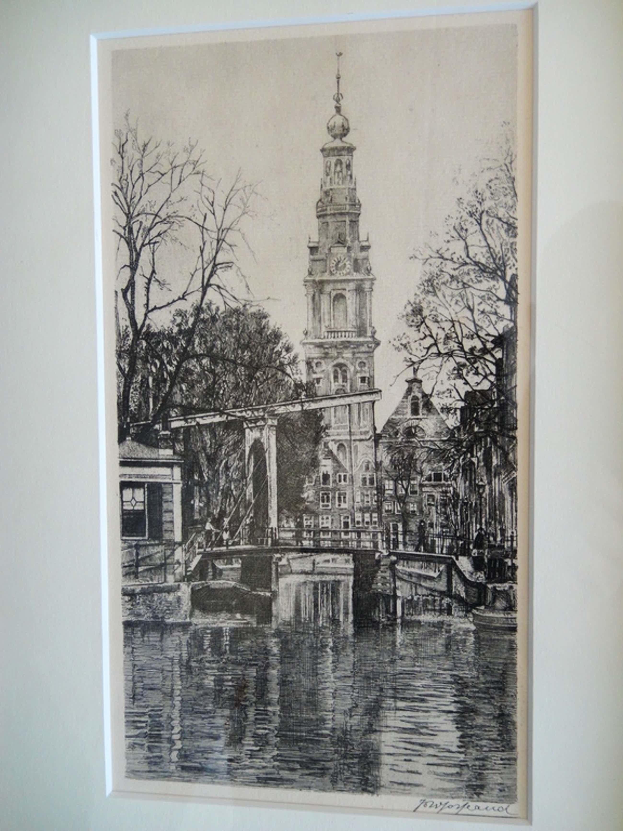 Johannes Josseaud, ets, zicht op de Zuiderkerk te Amsterdam kopen? Bied vanaf 50!