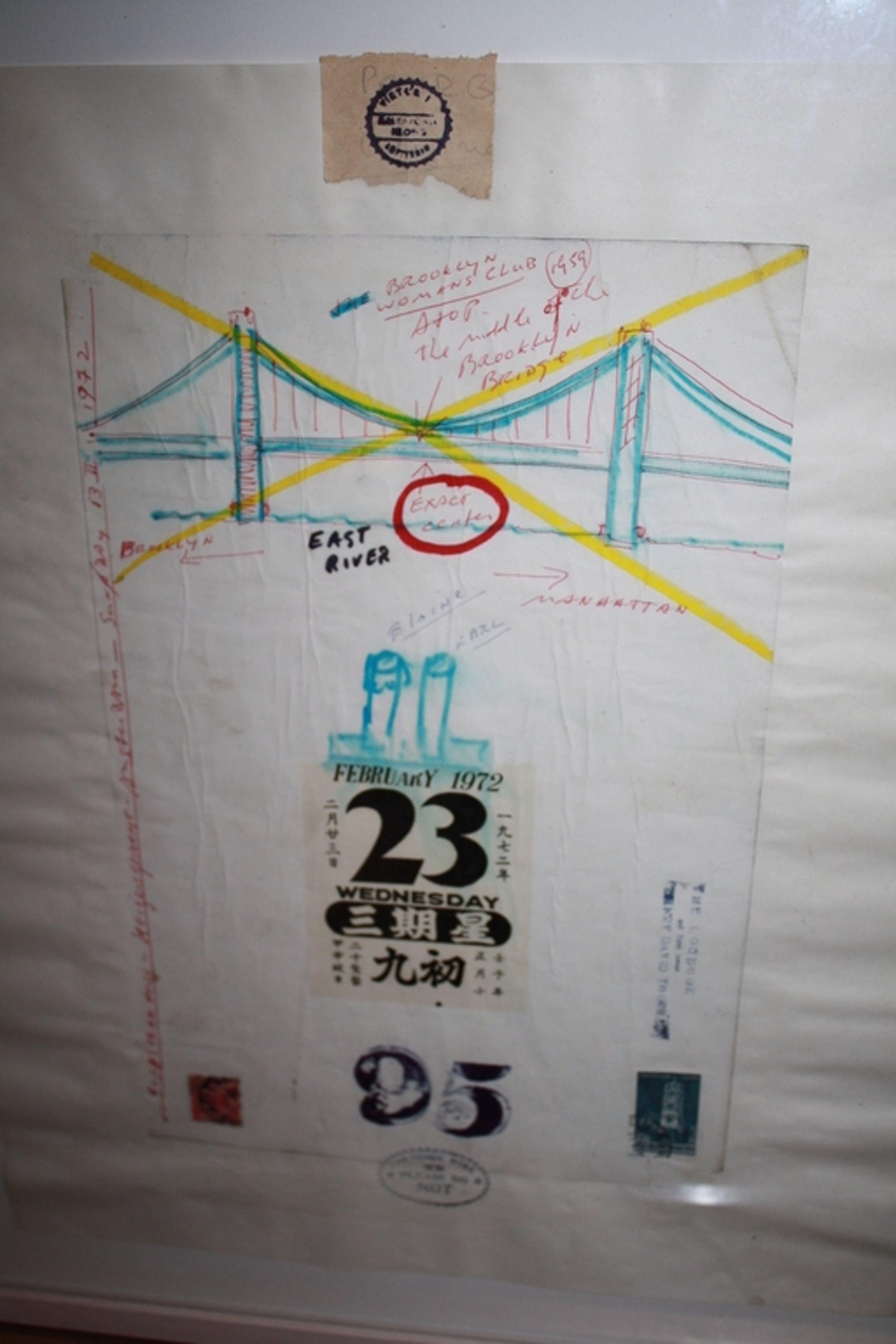 Victor IV - LOGBOEK BLAD COLLAGE 1972 BROOKLYN BRIDGE kopen? Bied vanaf 242!