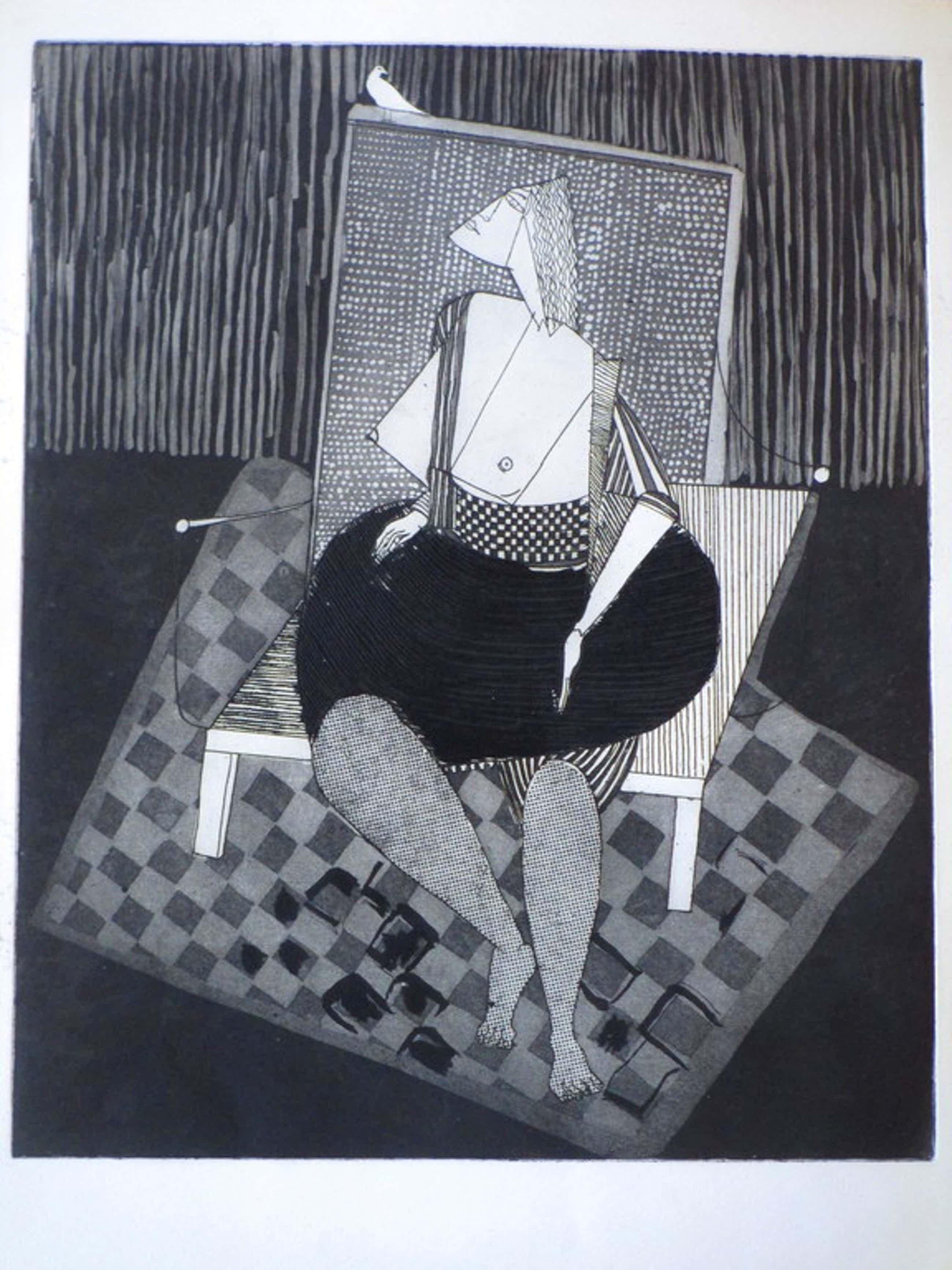 Theo Beerendonk, Kubistisch halfnaakt op stoel, Ets, atelierdruk kopen? Bied vanaf 35!