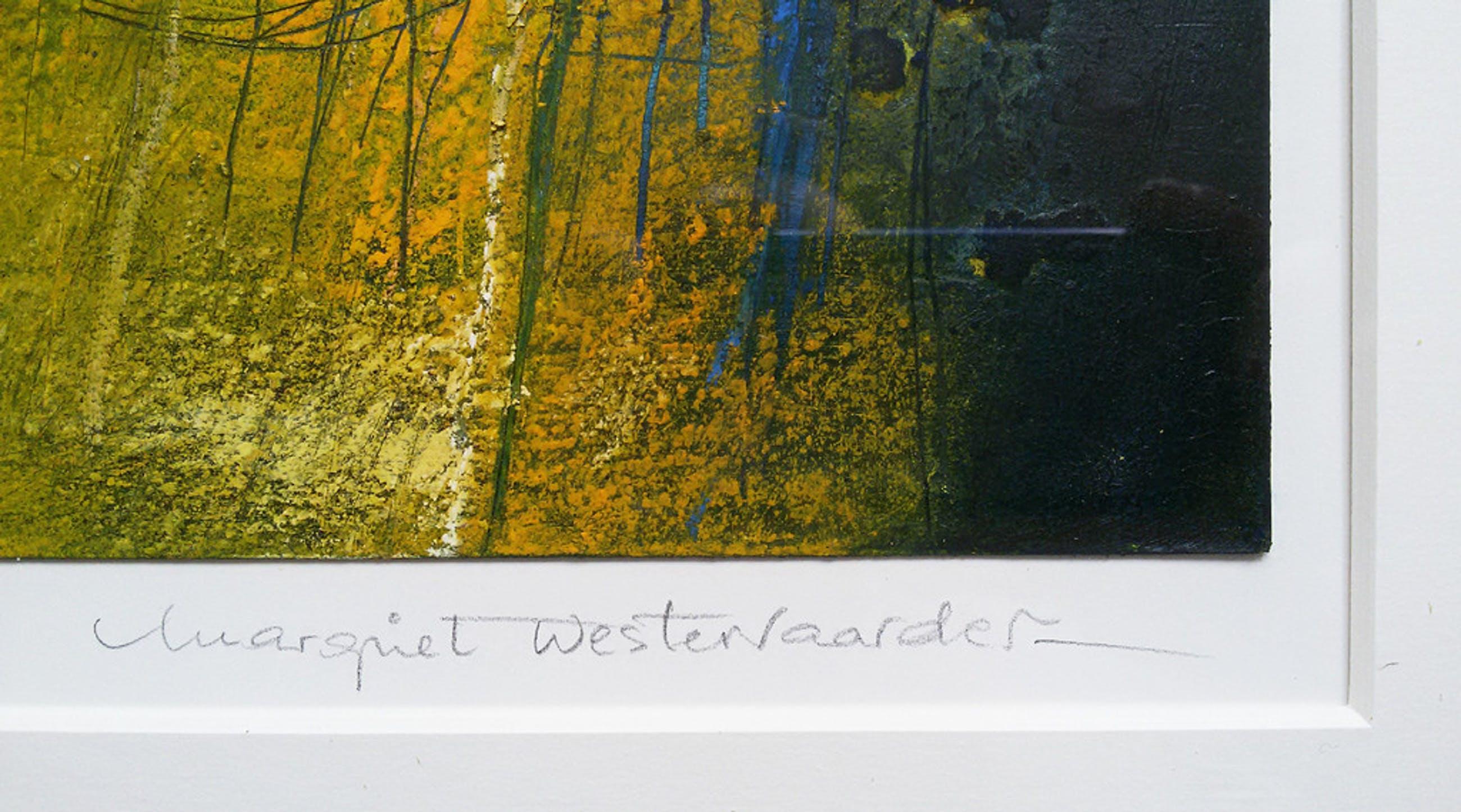 Margriet Westervaarder - Abstract, gemengde techniek (mooi ingelijst, groot) kopen? Bied vanaf 120!