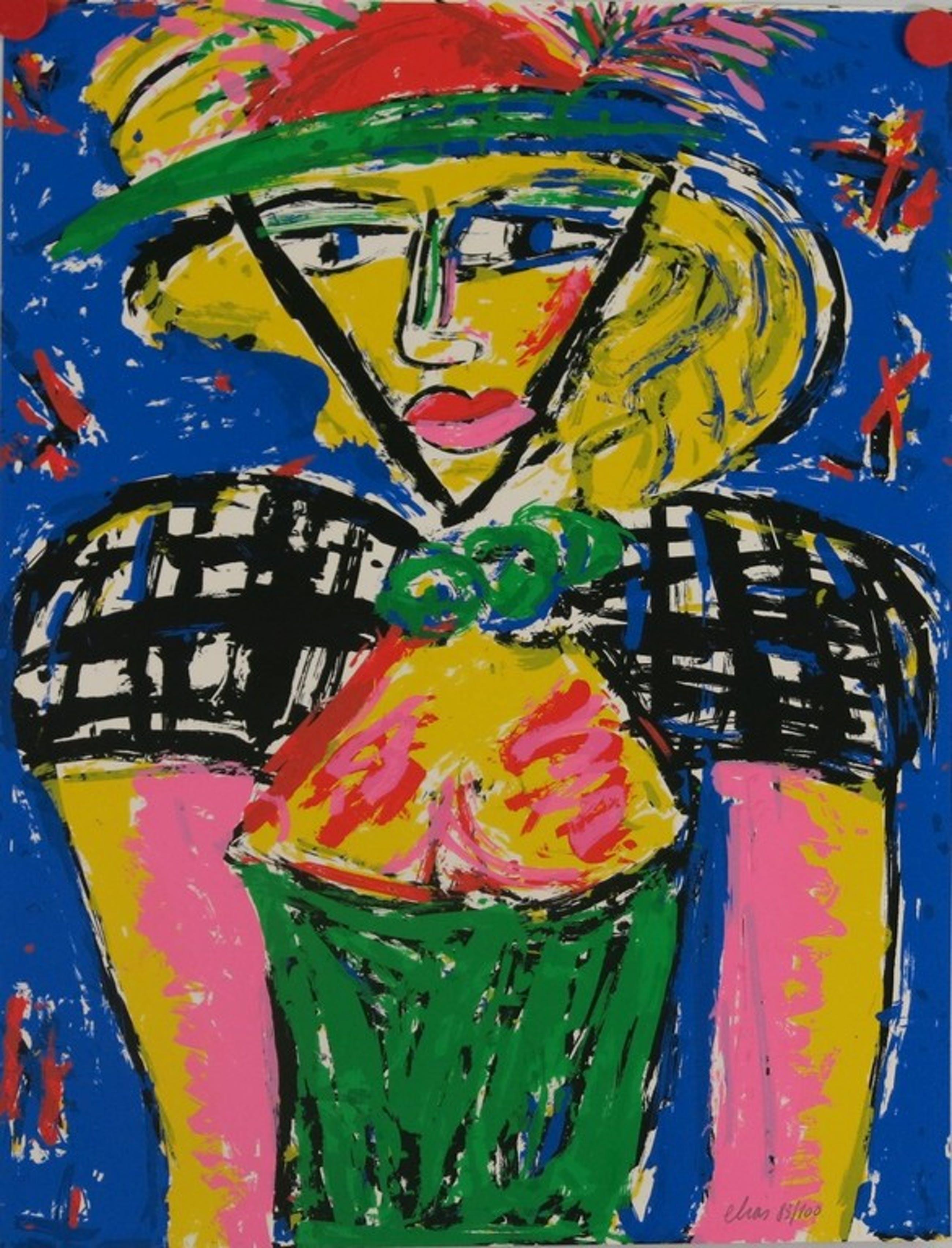 Etienne Elias: Zeefdruk, figuur met hoed kopen? Bied vanaf 100!