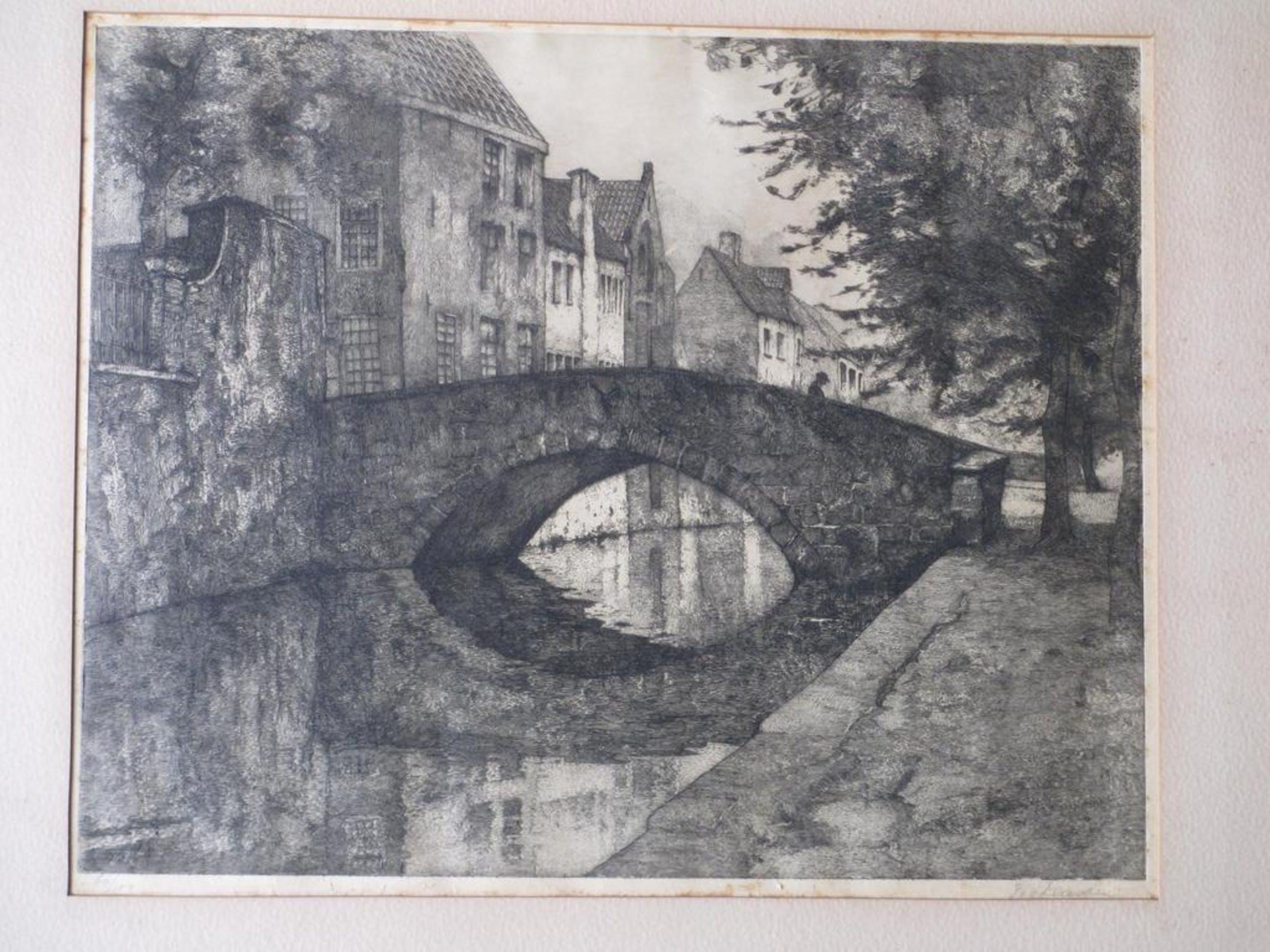 Willem van Leusden, Huizen aan een stadsgracht, Ets kopen? Bied vanaf 40!