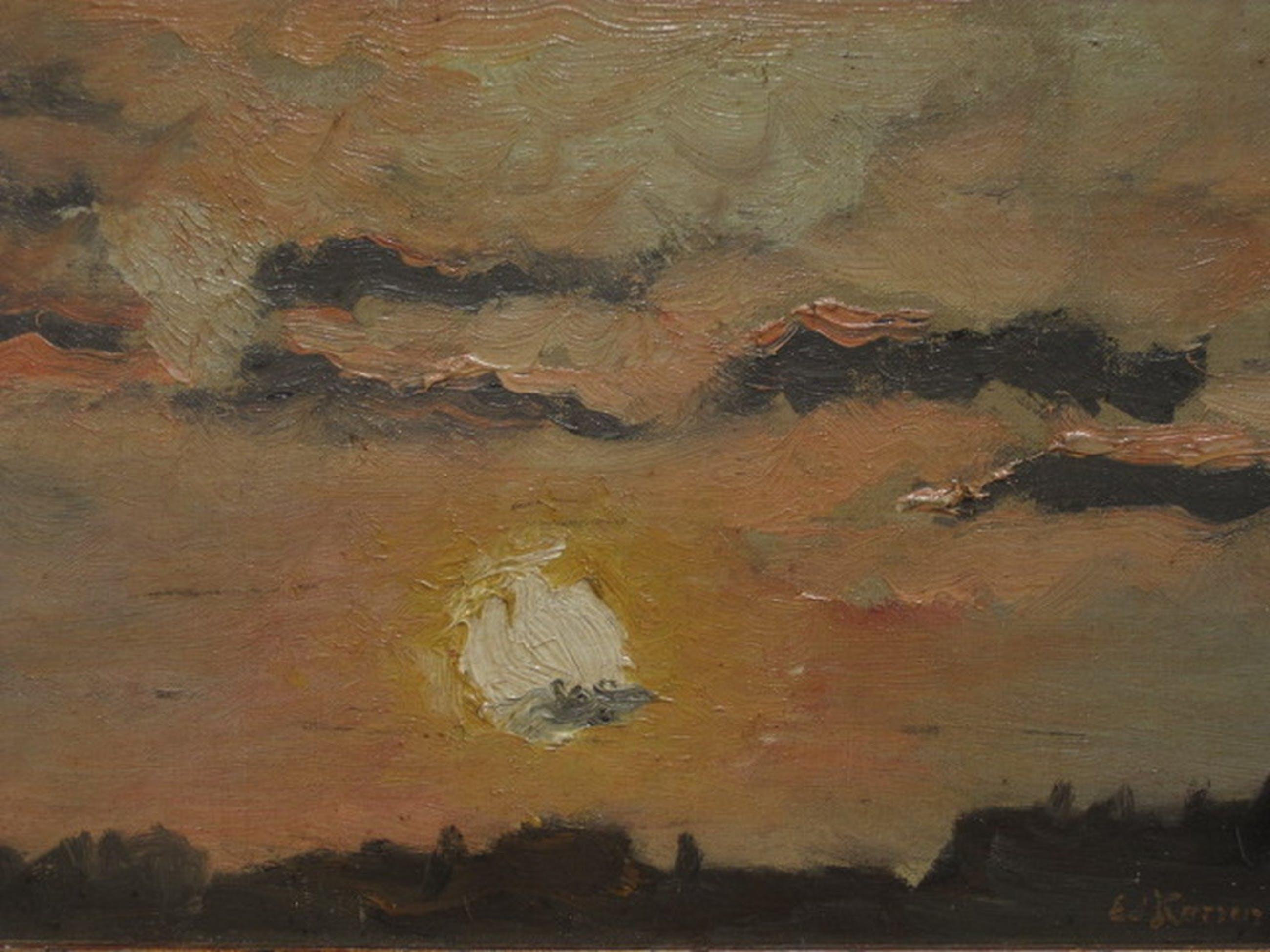 "Sfeervol ca 1900 olieverf ""Zomeravond boven Amsterdam"" Eduard Karsen 1860-1941  kopen? Bied vanaf 1!"