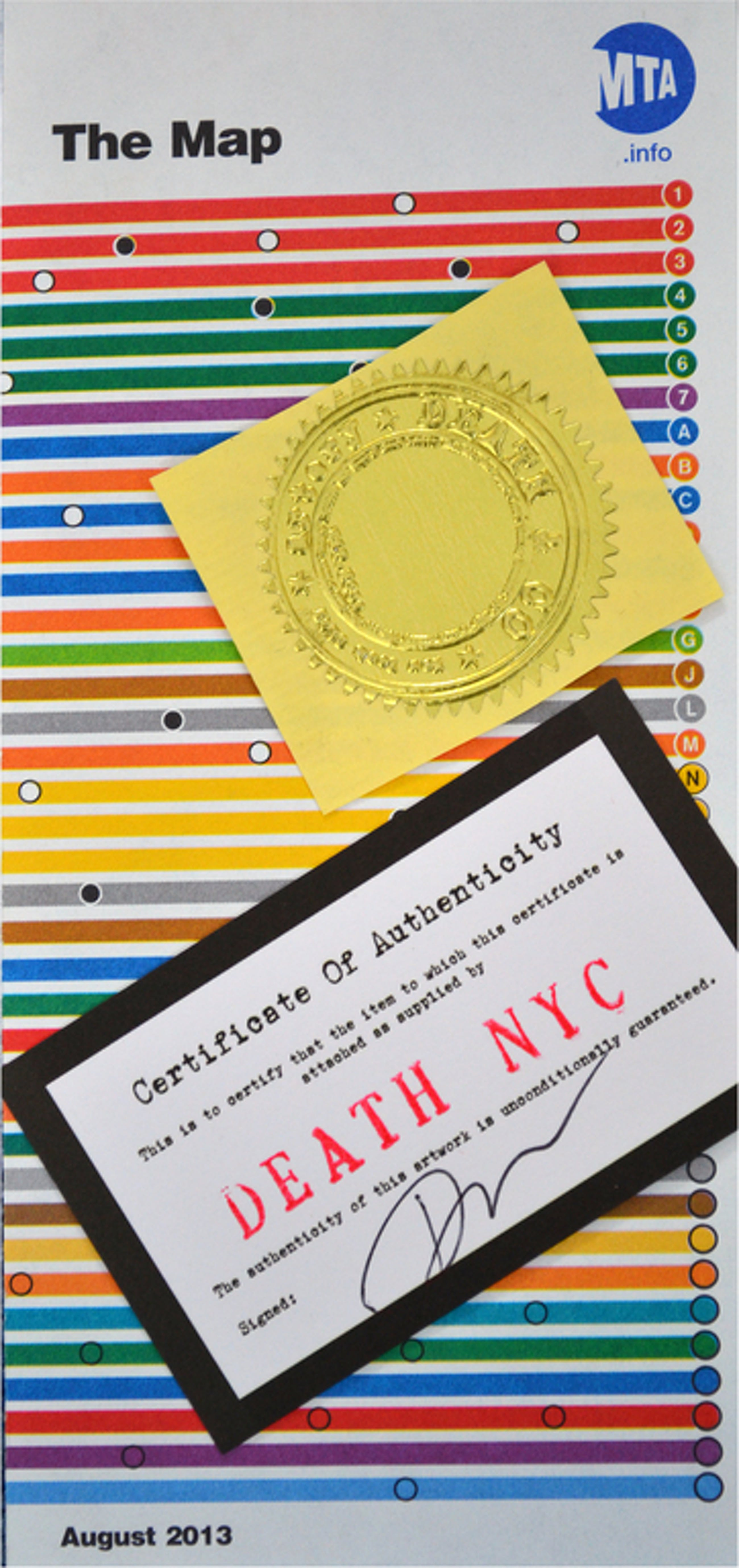 "Death NYC, Origineel ""Monroe"" op metromap NY, gesigneerd + stempel, 2013 kopen? Bied vanaf 1!"