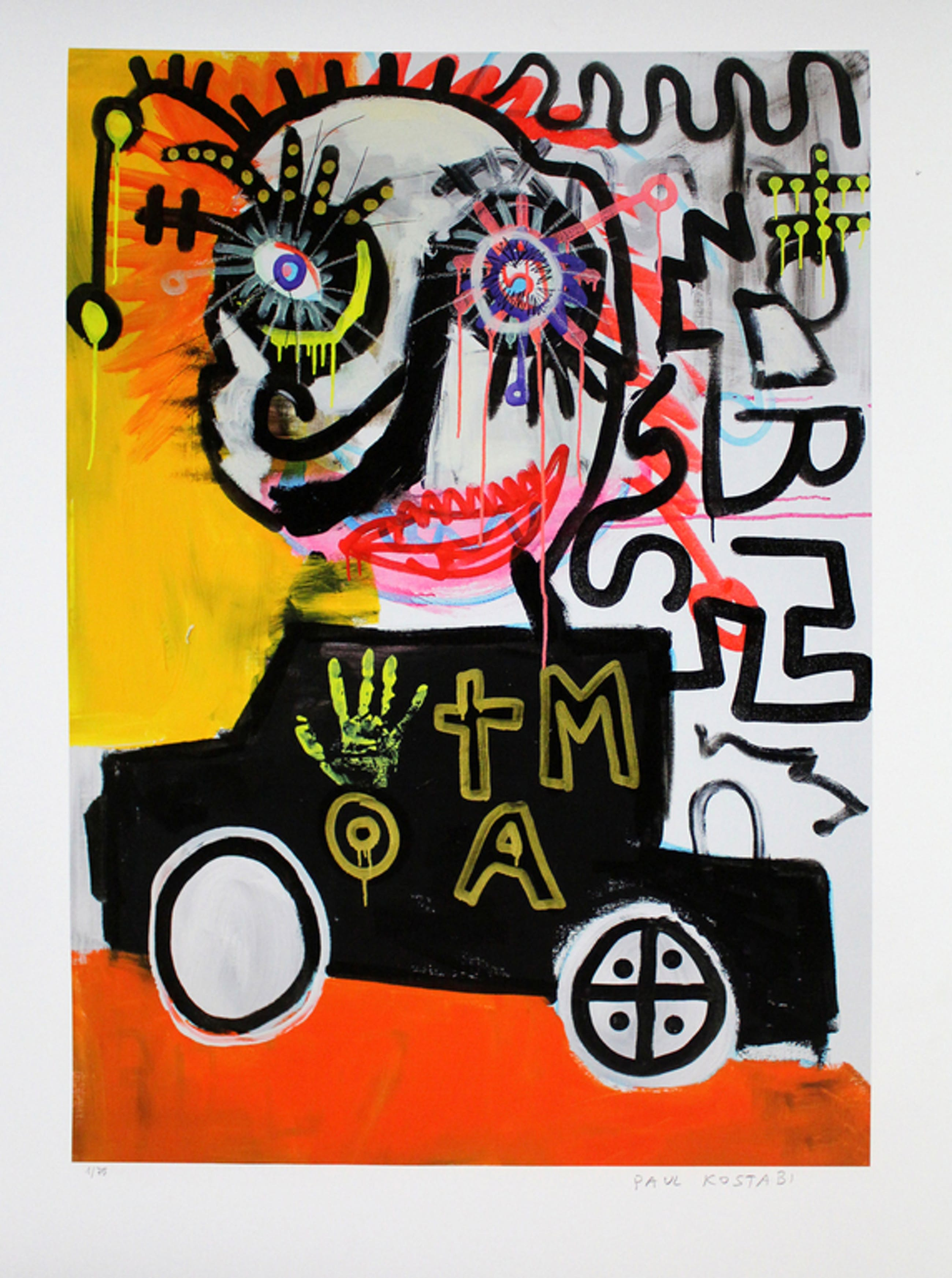 PAUL KOSTABI  Grote Giclee(84x61cm)   FUN DRIVE  Handgesigneerd kopen? Bied vanaf 65!
